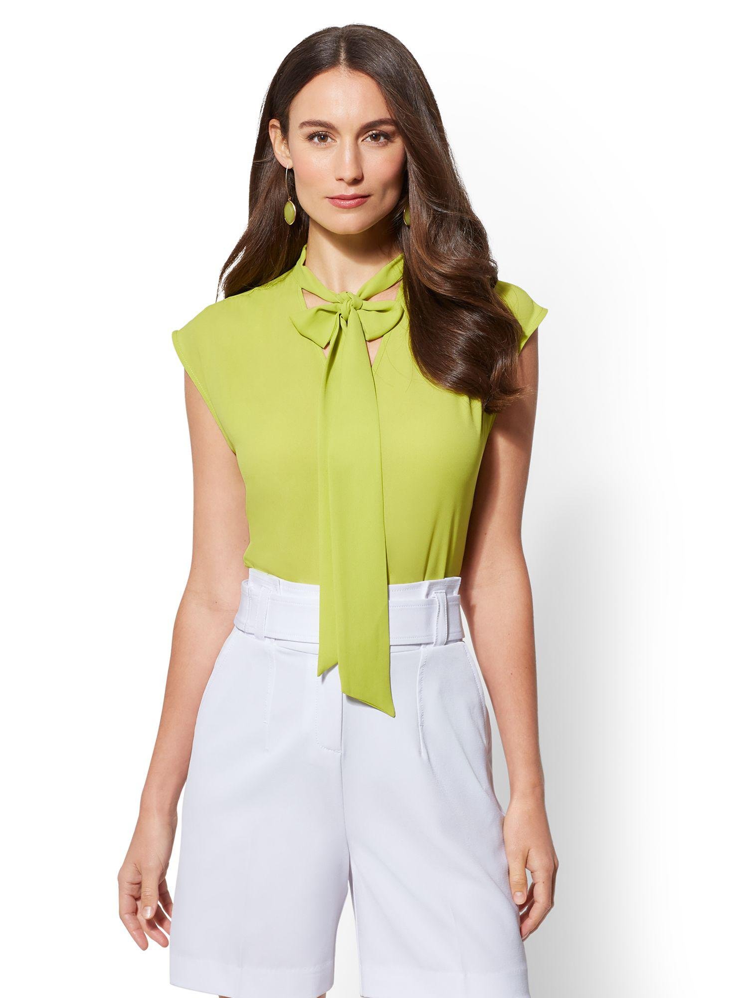 Lyst New York Company 7th Avenue V Neck Bow Blouse In Green