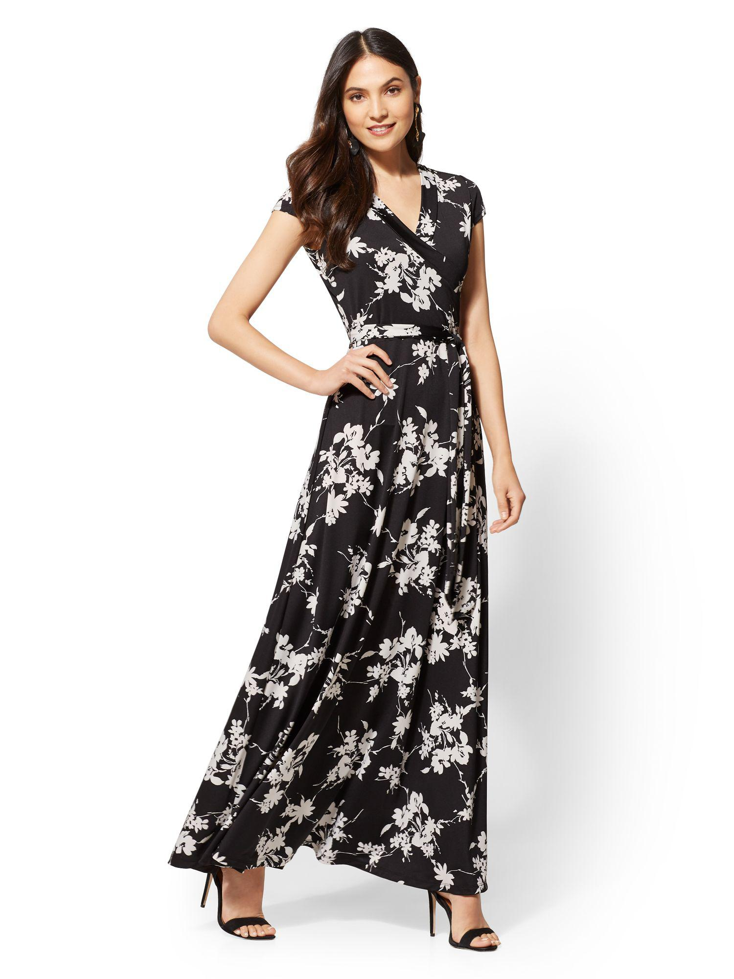 Lyst New York Company Floral Wrap Maxi Dress In Black