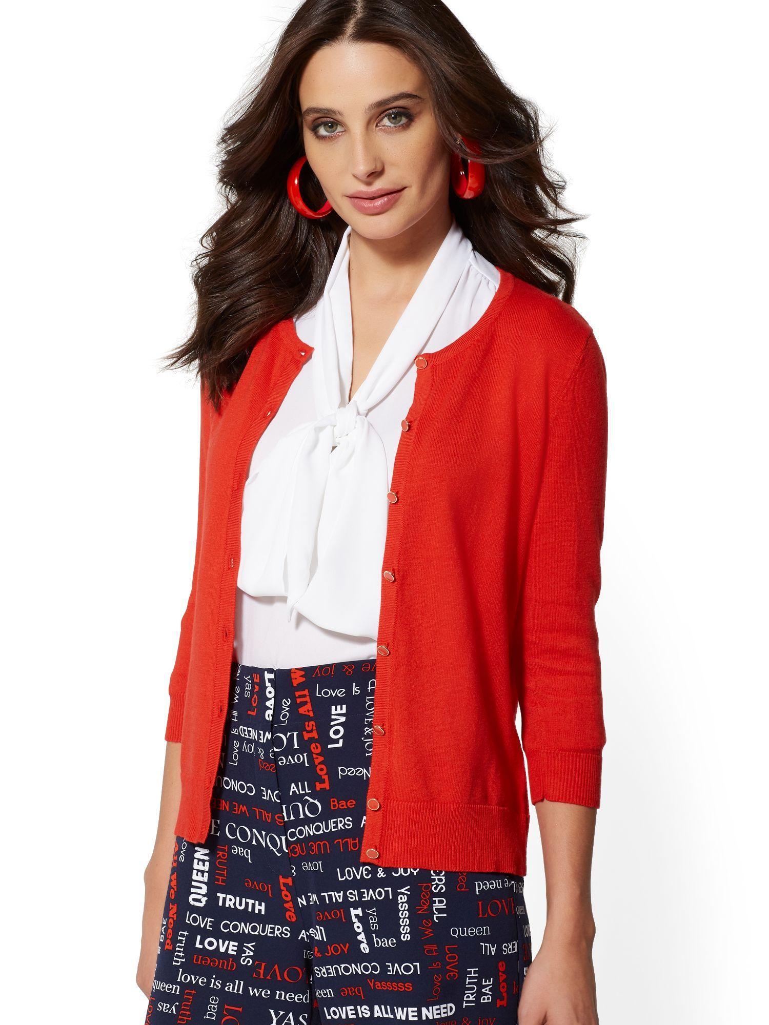 671ba17ef4c New York   Company. Women s Red 7th Avenue - Enamel-button Chelsea Crewneck  Cardigan