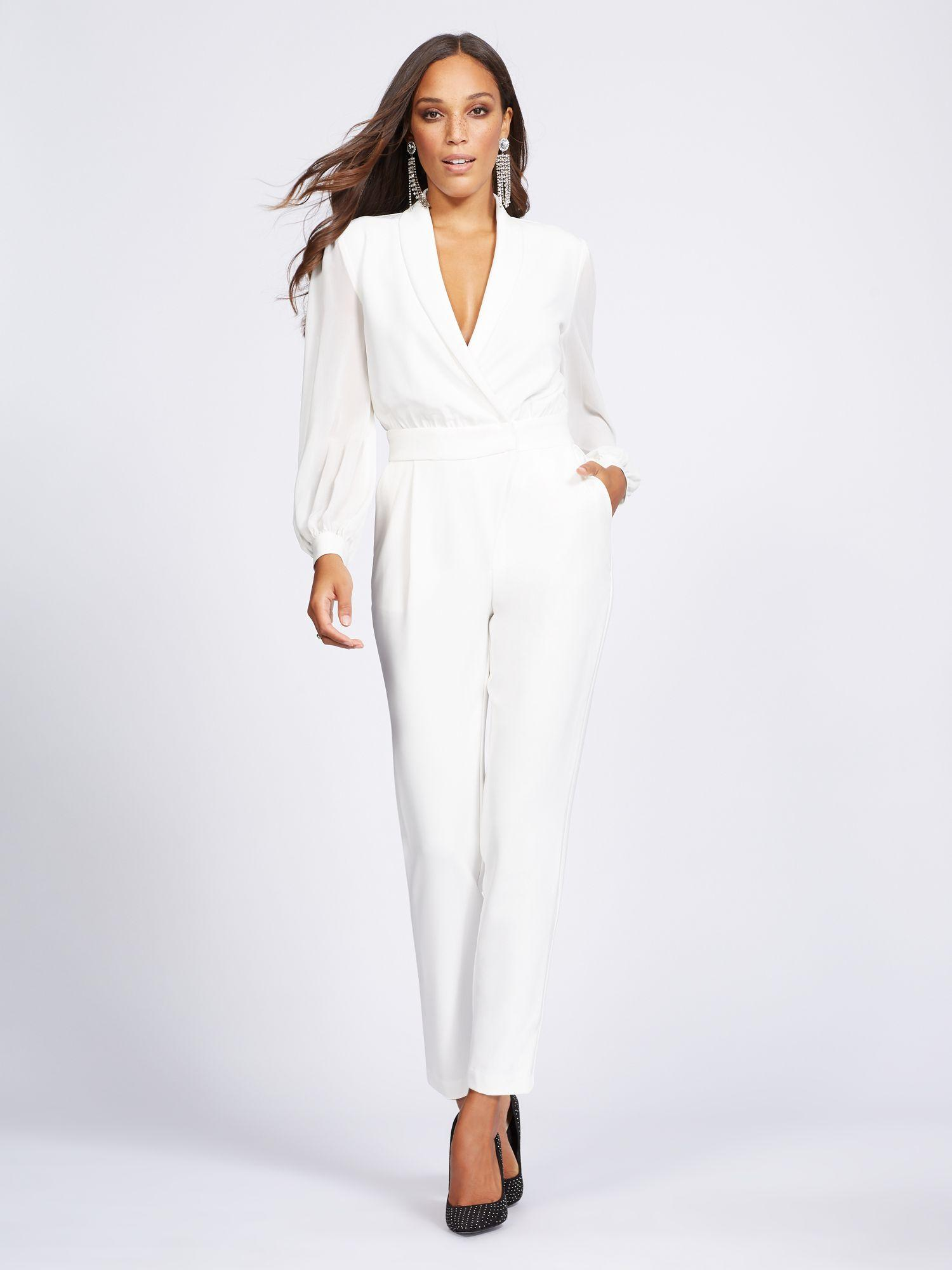 091ea4708146 New York   Company. Women s White Ivory Wrap Jumpsuit - Gabrielle Union  Collection