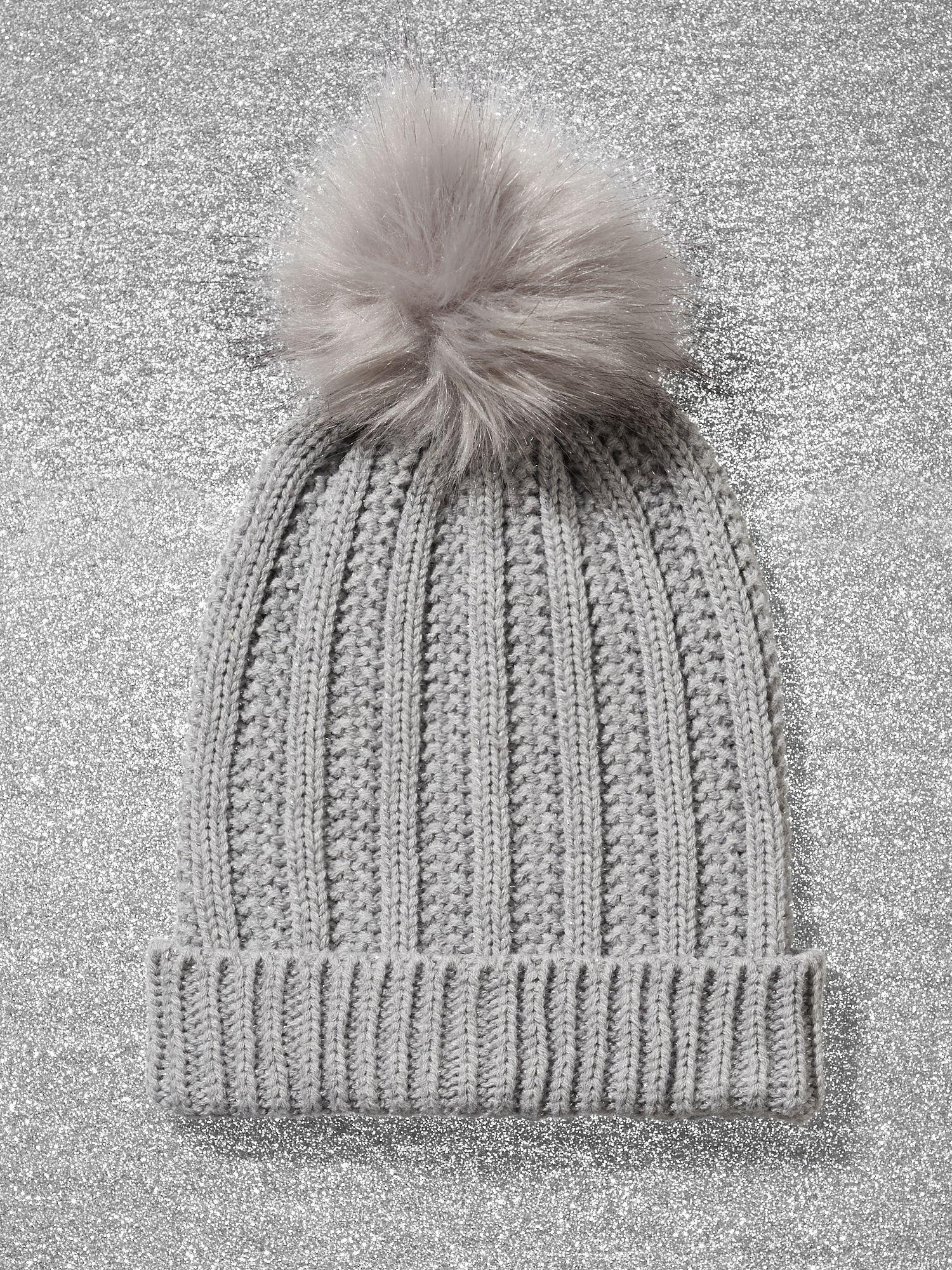 2aba7efbb New York & Company Metallic Pom-pom Trim Ribbed-knit Hat in Gray - Lyst