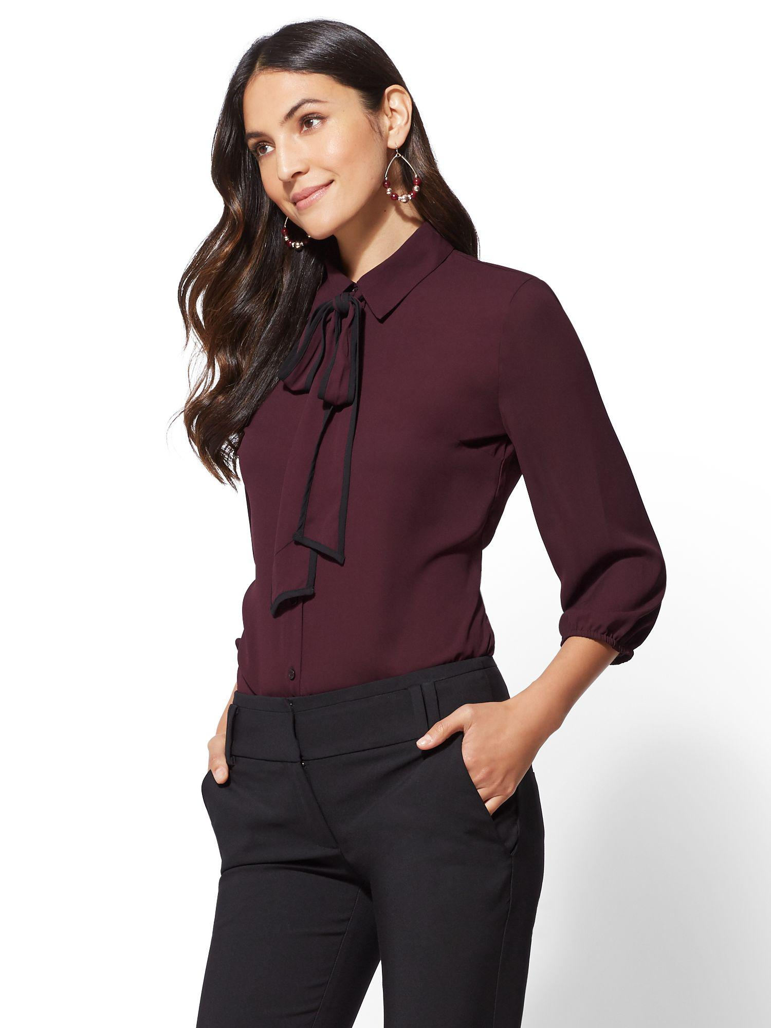 3a8696ac624 Lyst - New York   Company 7th Avenue - Piped Bow-accent Blouse in Purple