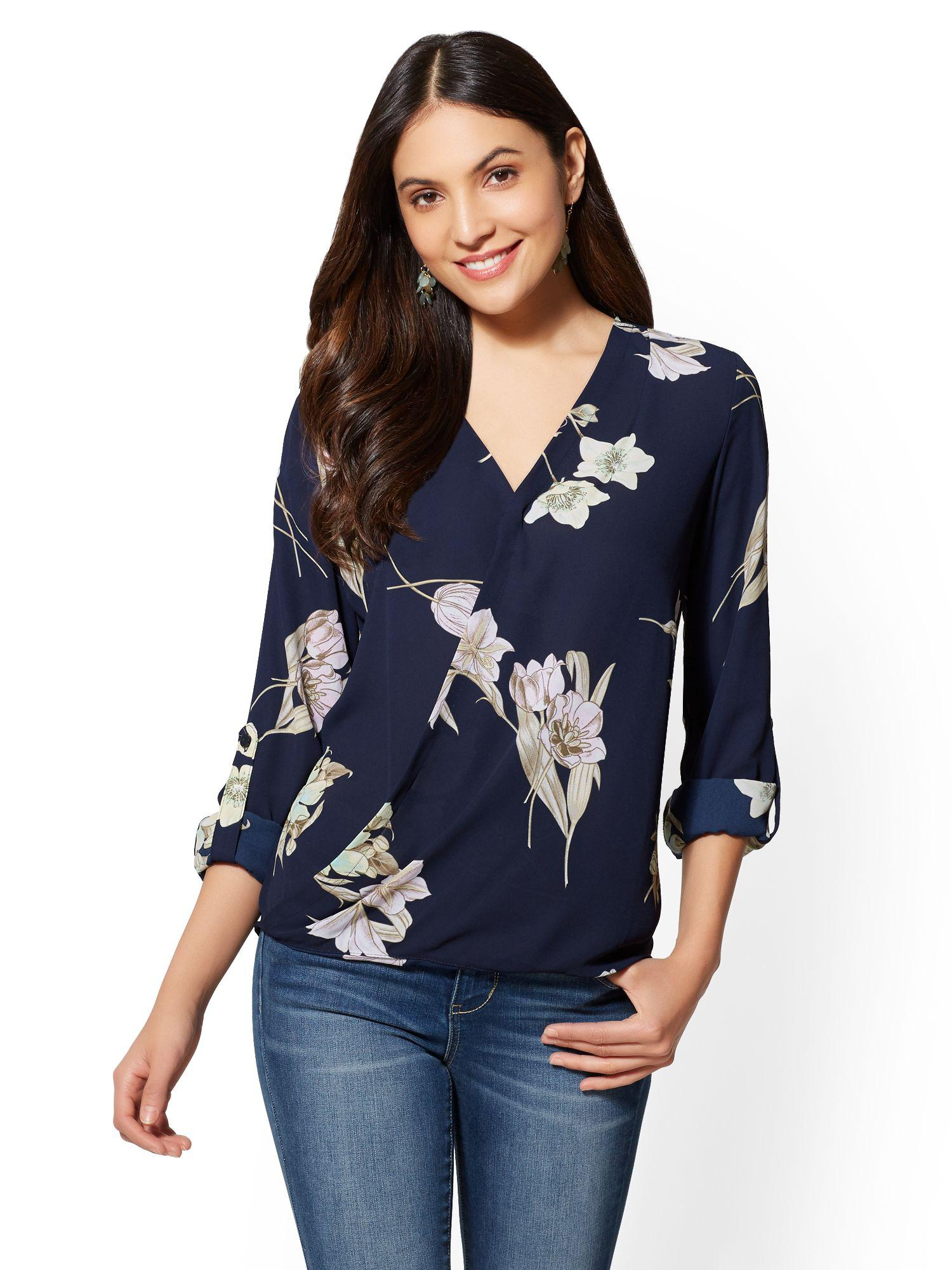 Lyst New York Company Soho Soft Shirt Wrap Blouse Floral In Blue
