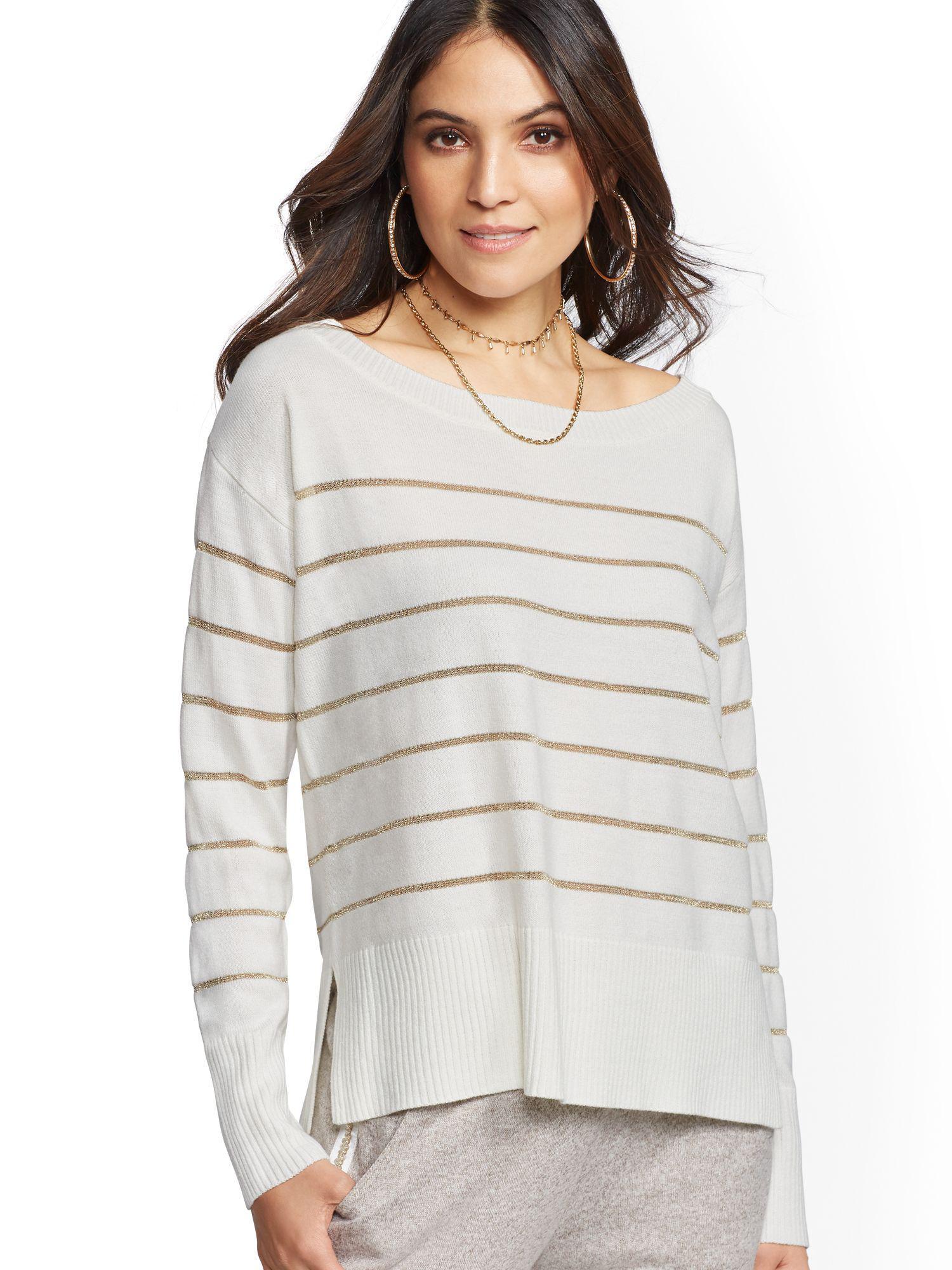 save off d7b16 79093 new-york-company-WINTER-WHITE -W-LUREX-Metallic-stripe-Off-the-shoulder-Sweater.jpeg