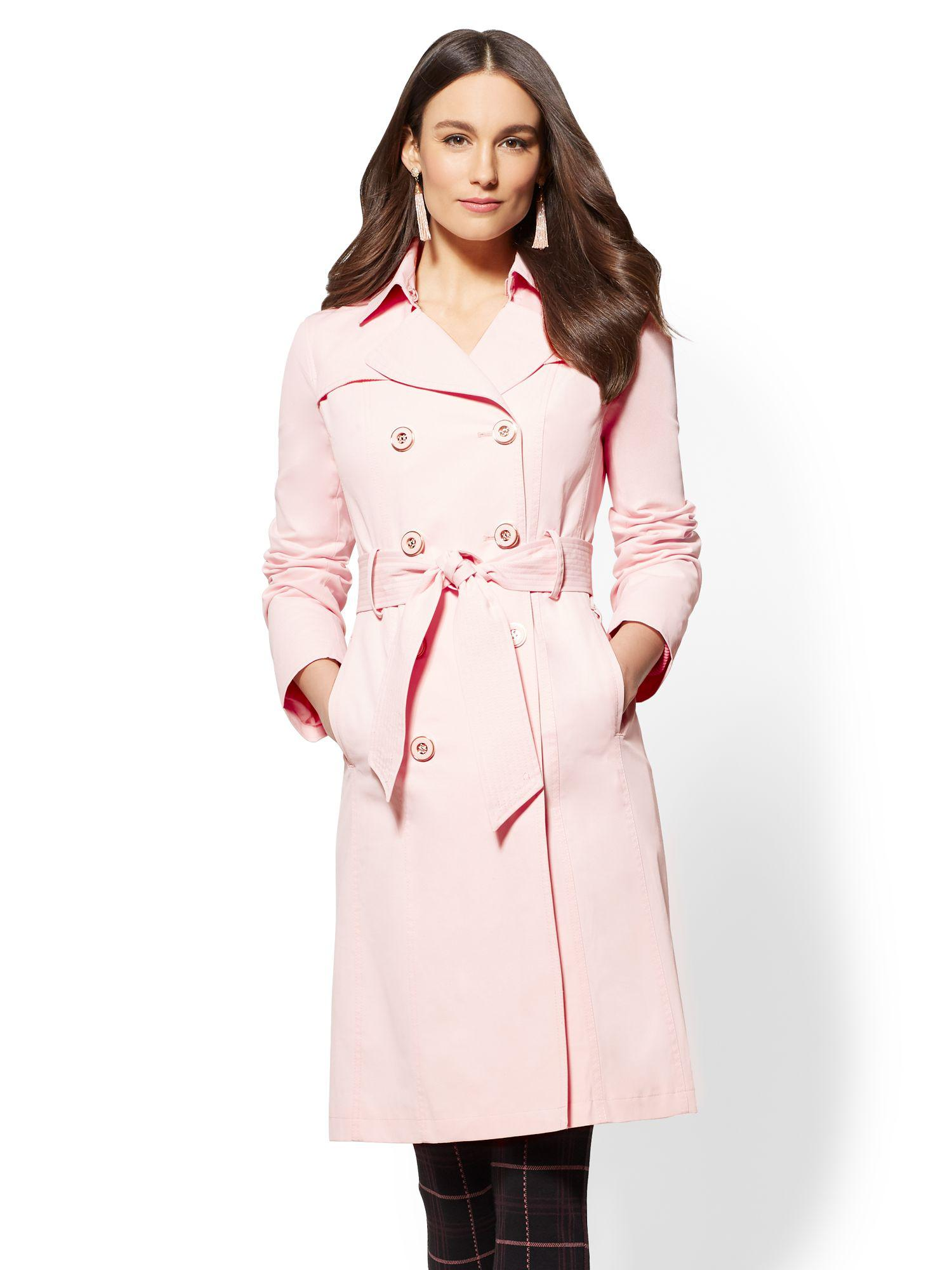 ac11ed9705 Lyst - New York   Company 7th Avenue - Belted Trench Coat in Pink