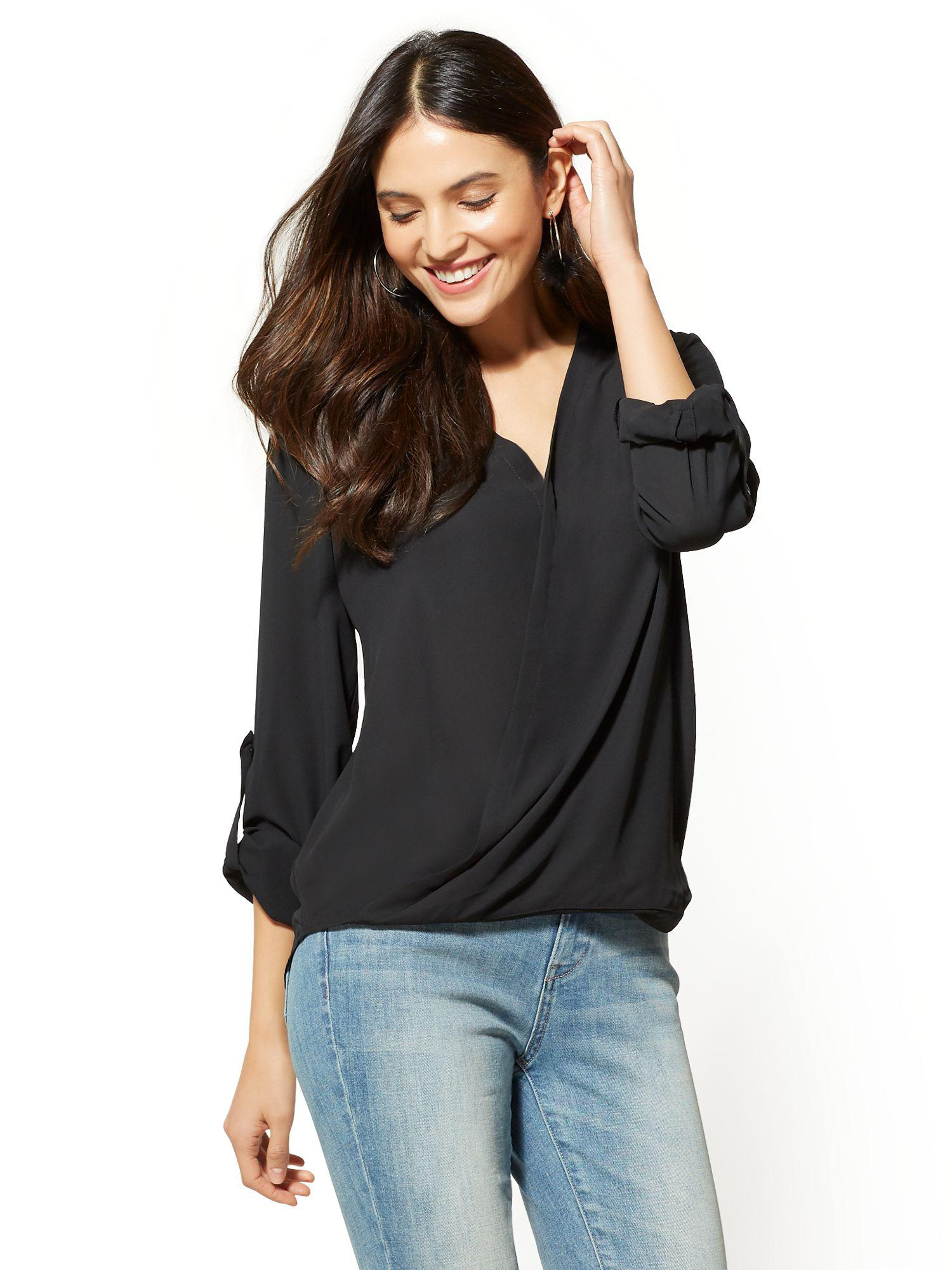 Lyst New York Company Soho Soft Shirt Wrap Blouse In Black