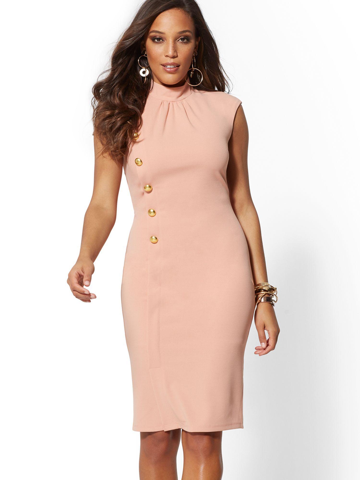 4a96bb2a9 New York & Company Goldtone Button-accent Sheath Dress - Magic Crepe ...