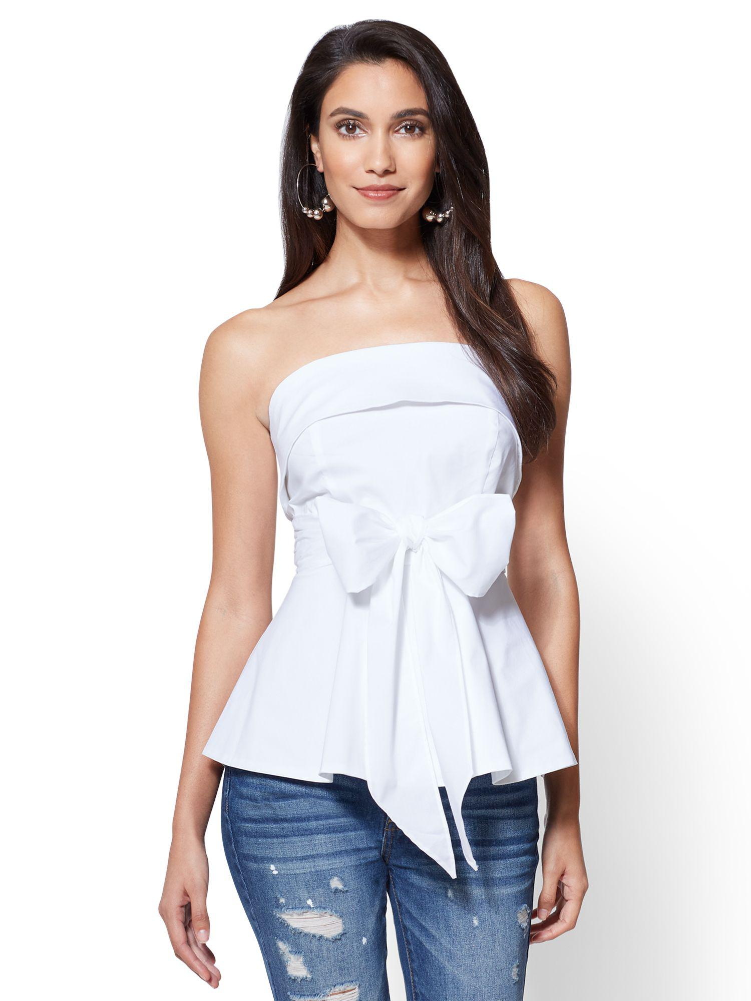 e4066c58db1af7 New York & Company Peplum-waist Strapless Poplin Shirt in White - Lyst