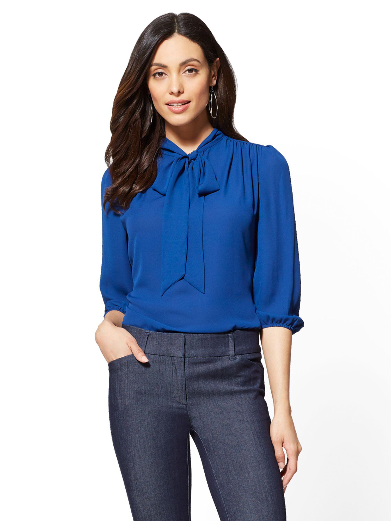 Lyst New York Company 7th Avenue Split Neck Bow Blouse In Blue