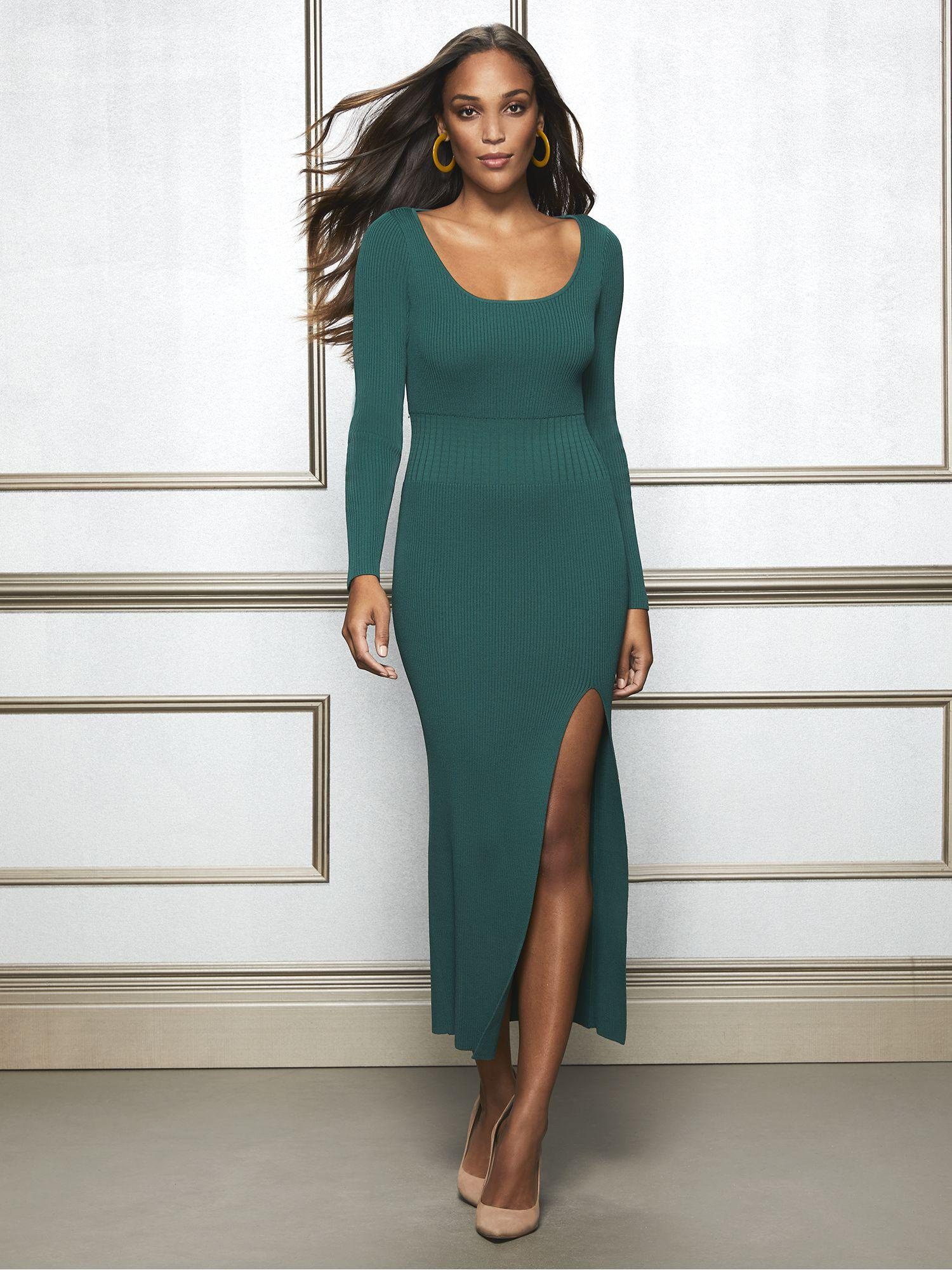 80ae37b47950 New York & Company. Women's Green Eva Mendes Collection - Maxine Sweater  Dress