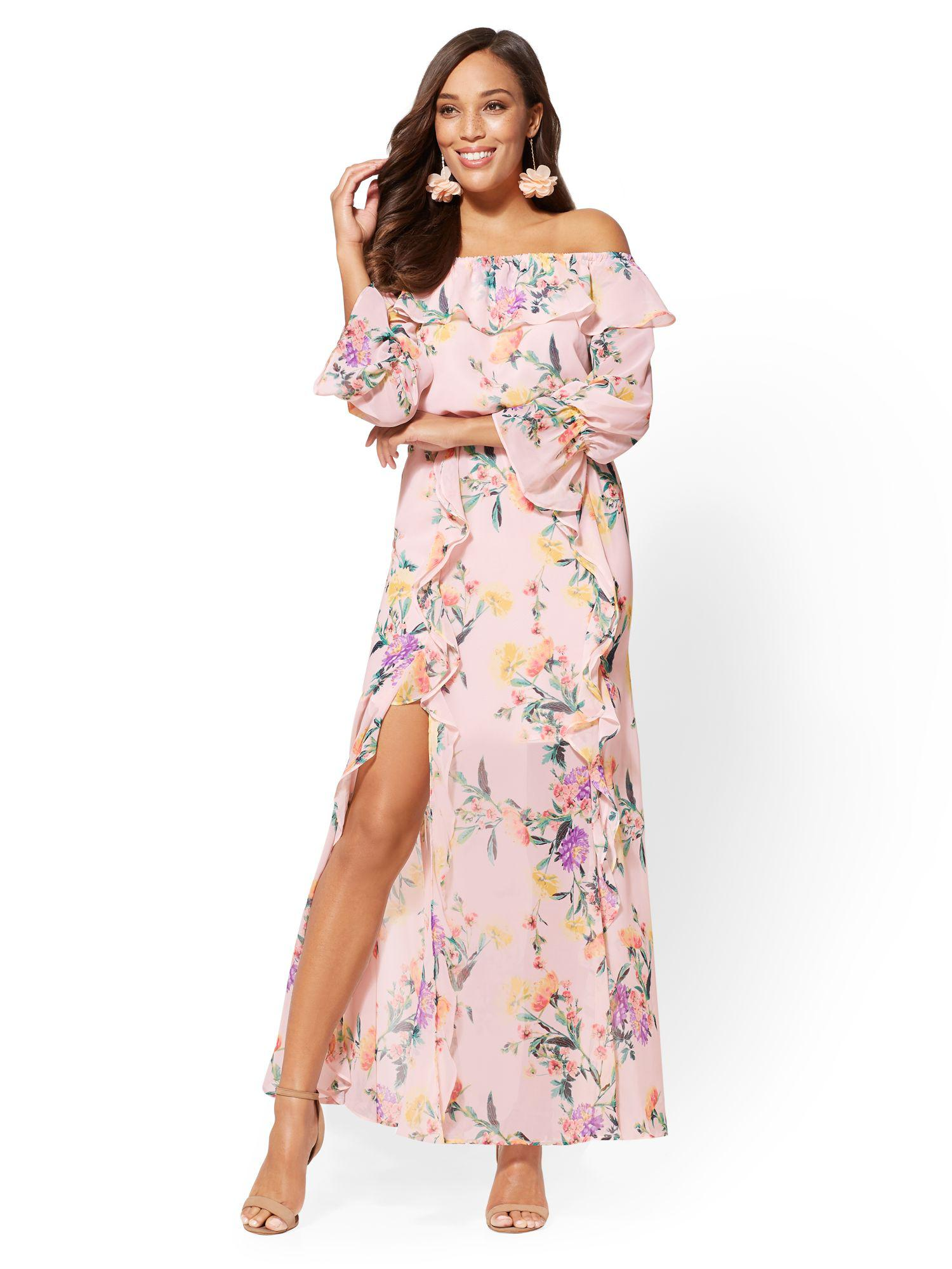 Lyst New York Company 7th Avenue Floral Off The Shoulder Maxi