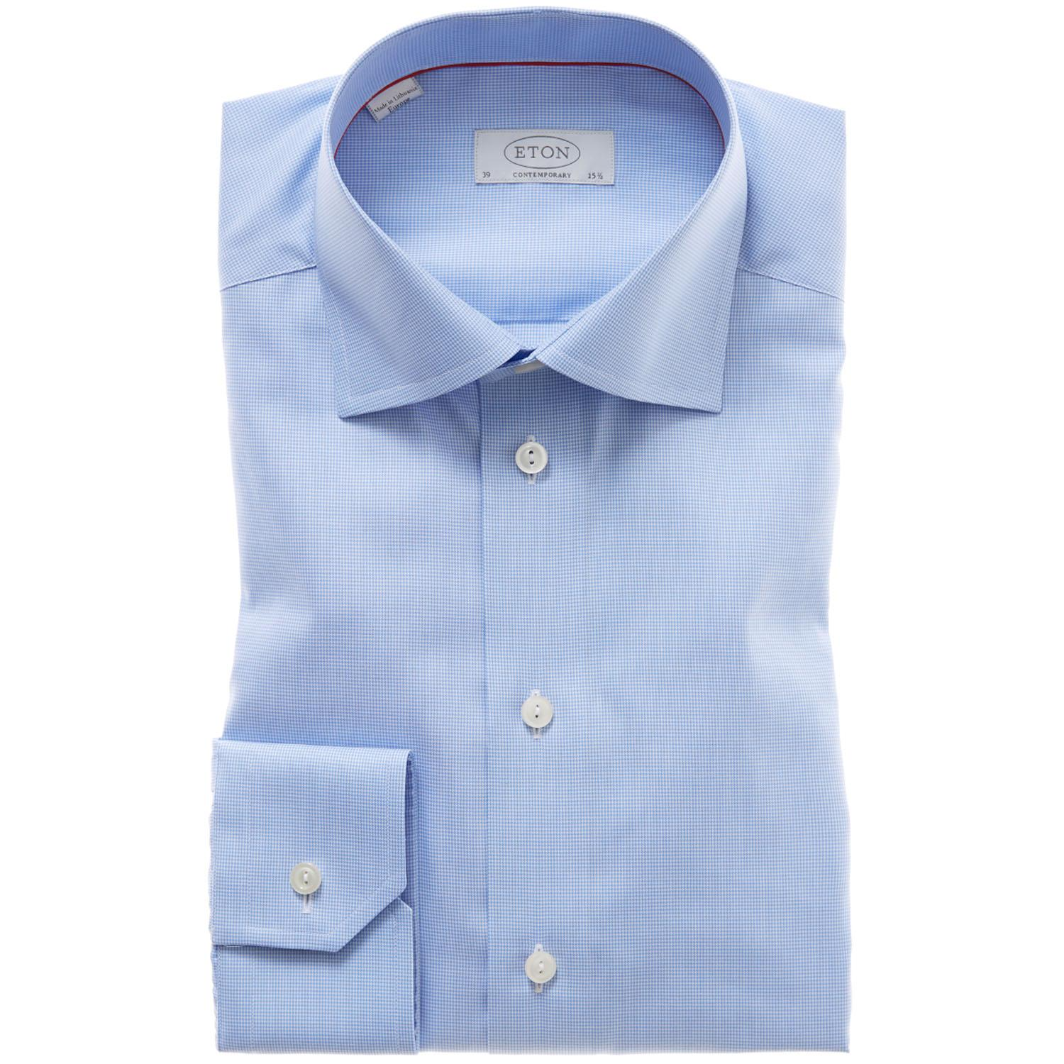 Eton of sweden wrinkle free check dress shirt contemporary for How do wrinkle free shirts work