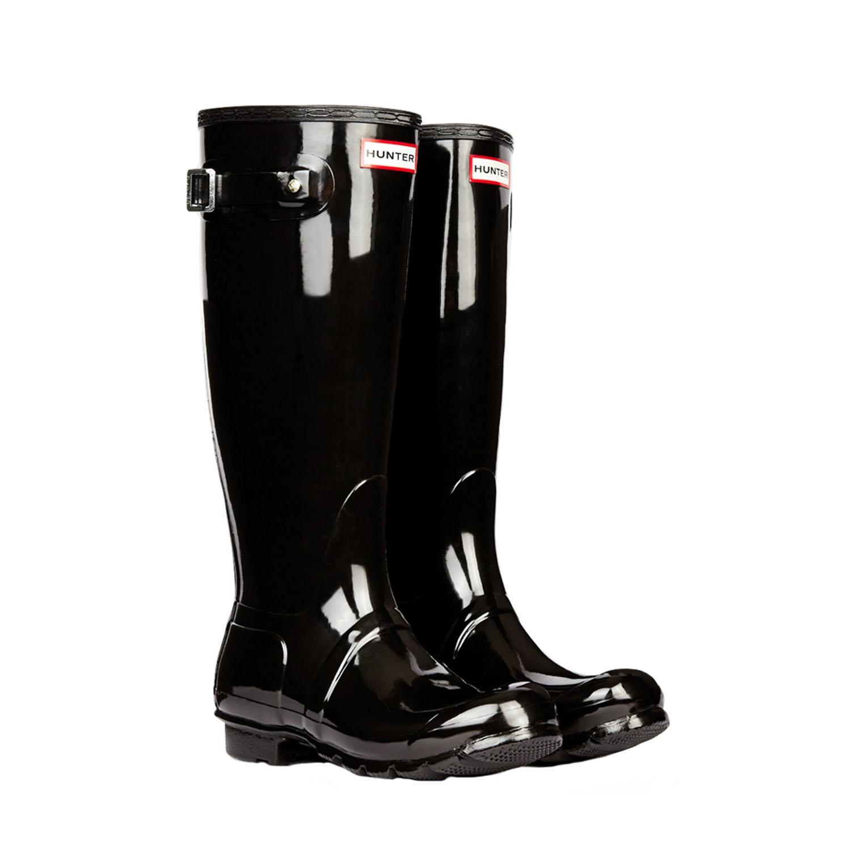 Hunter Original Tall Gloss Rain Boots in Black | Lyst
