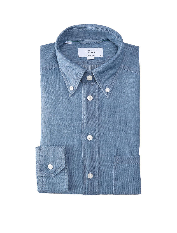 47f5d607c9c Lyst - Eton of Sweden Denim Button Down Sport Shirt in Blue for Men