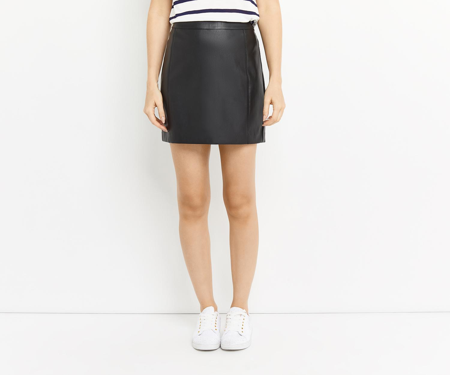 2c2a681db Lyst - Oasis Faux Leather Seamed Mini Skirt in Black