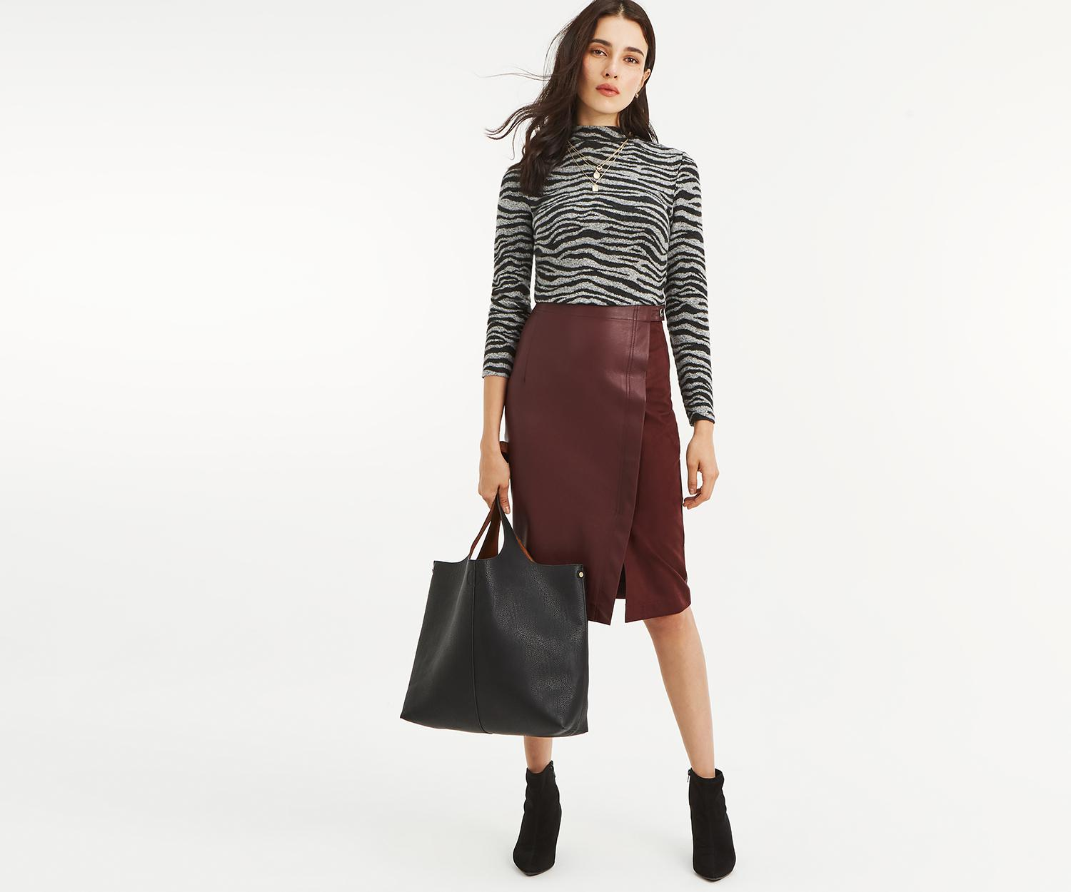 44d402a83e Lyst - Oasis Faux Leather Pencil Skirt