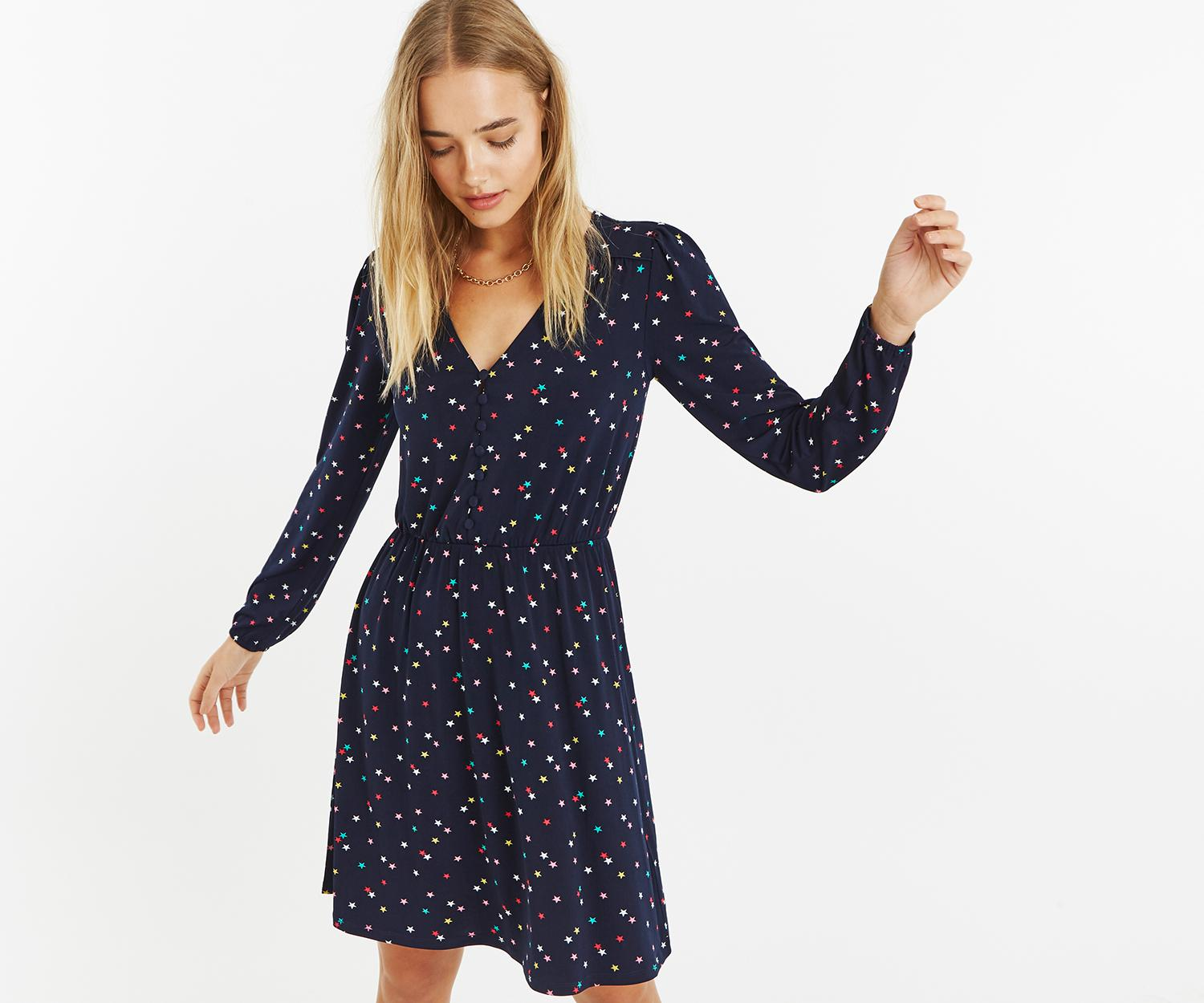 c64f0bd18216 Oasis Star Button Skater Dress in Blue - Lyst