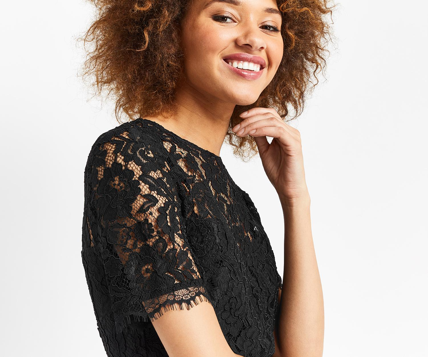 fa2fd58e4e56 Lyst - Oasis Lace Bodice Shift in Black