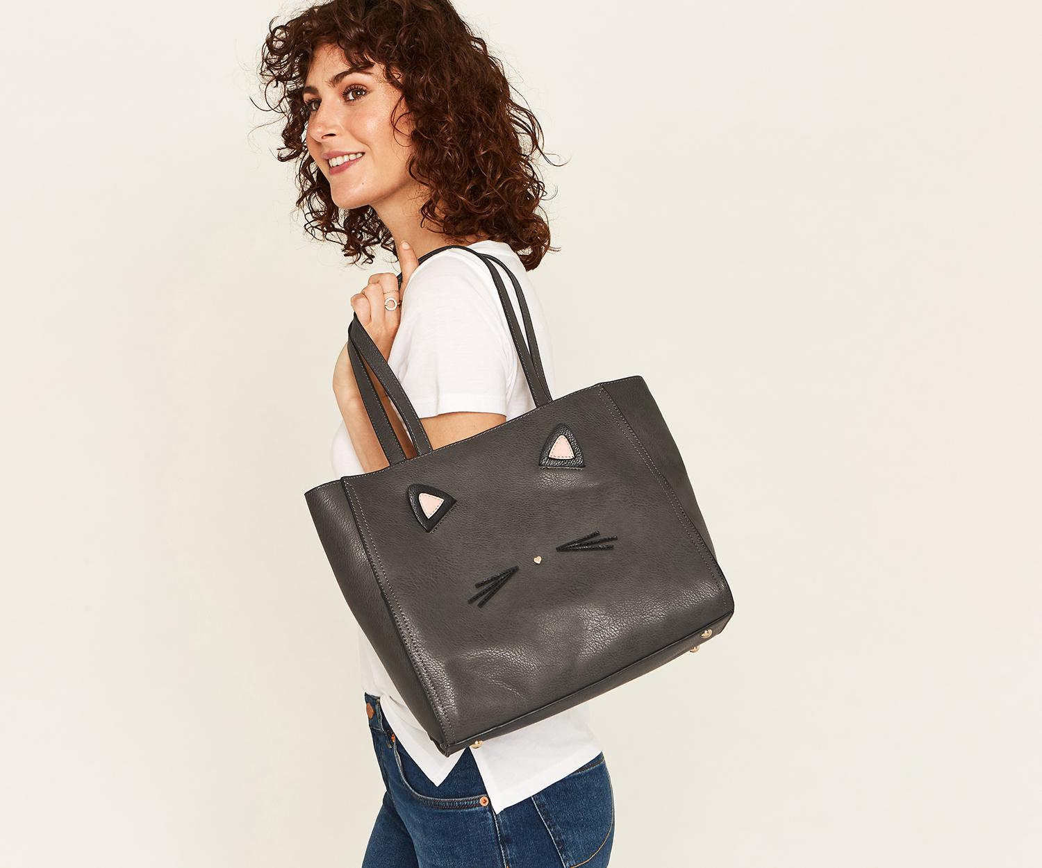 09b9553b908 Oasis Kitty Cat Tote Bag in Gray - Lyst