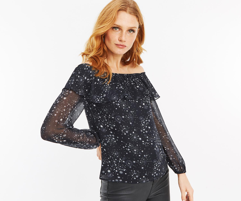 c2cc3b2c5b5ae Oasis Star Print Bardot Top in Black - Save 44.44444444444444% - Lyst
