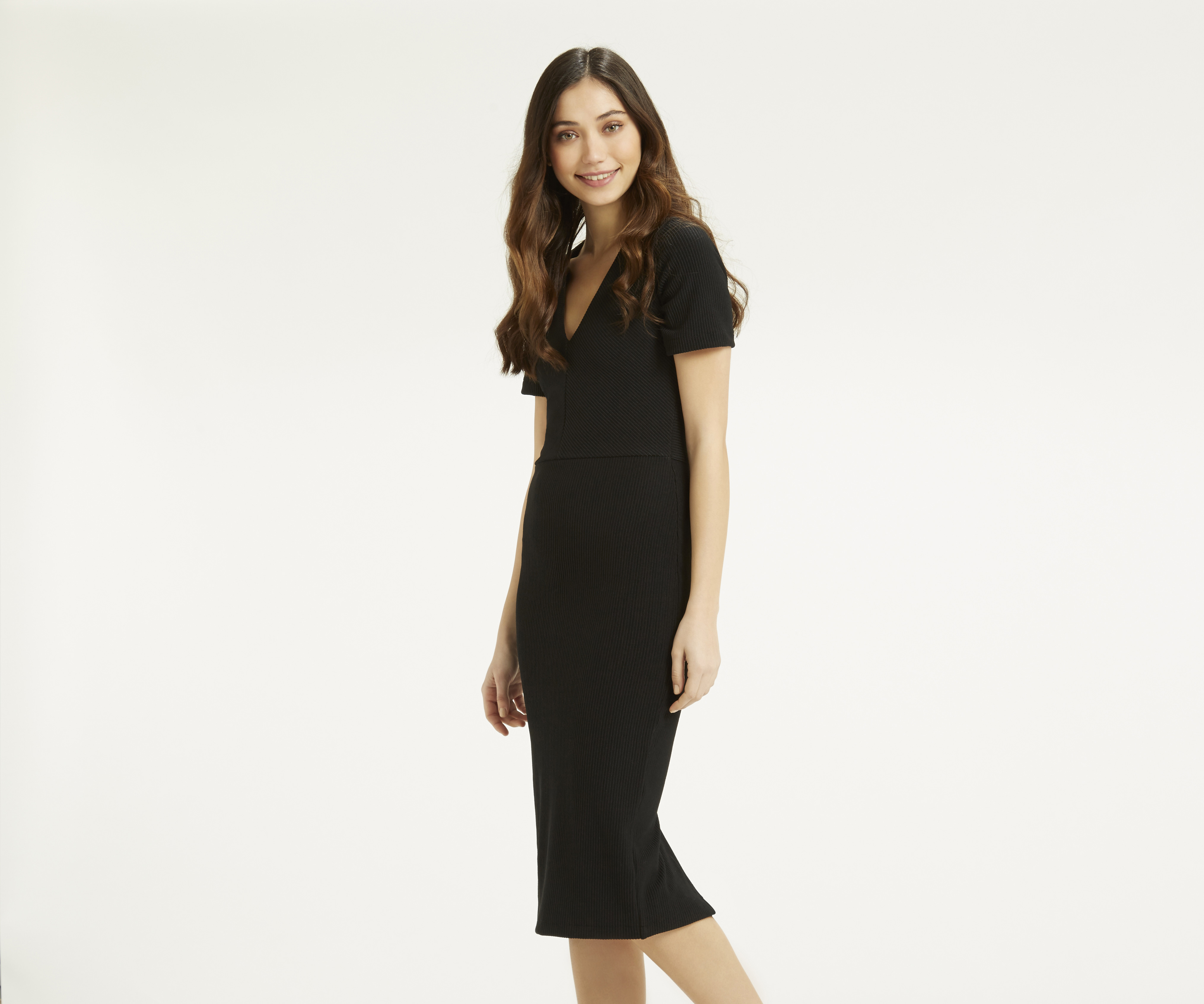 oasis ribbed pencil dress in black lyst