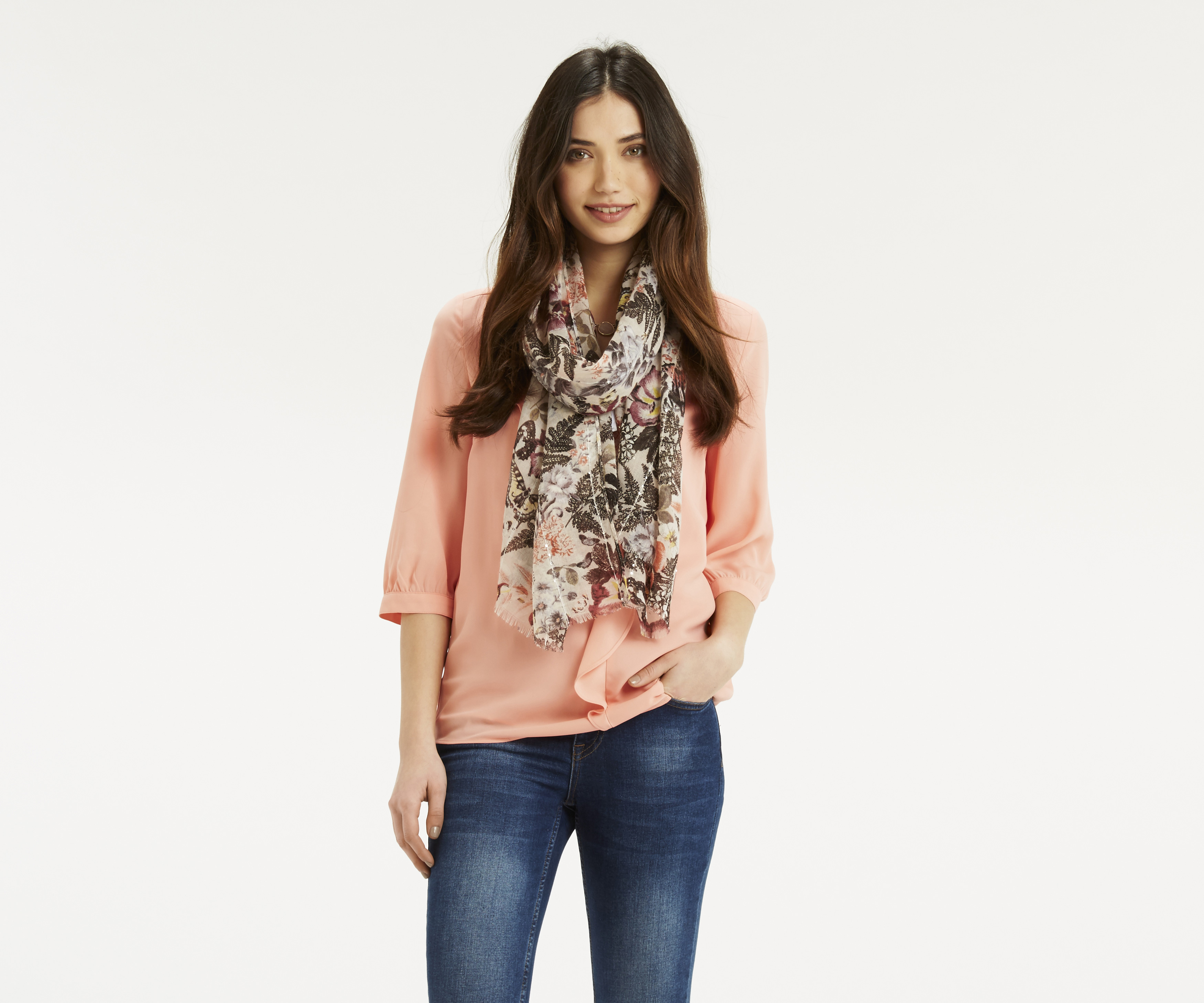 oasis botanical collage sequin scarf in gray lyst