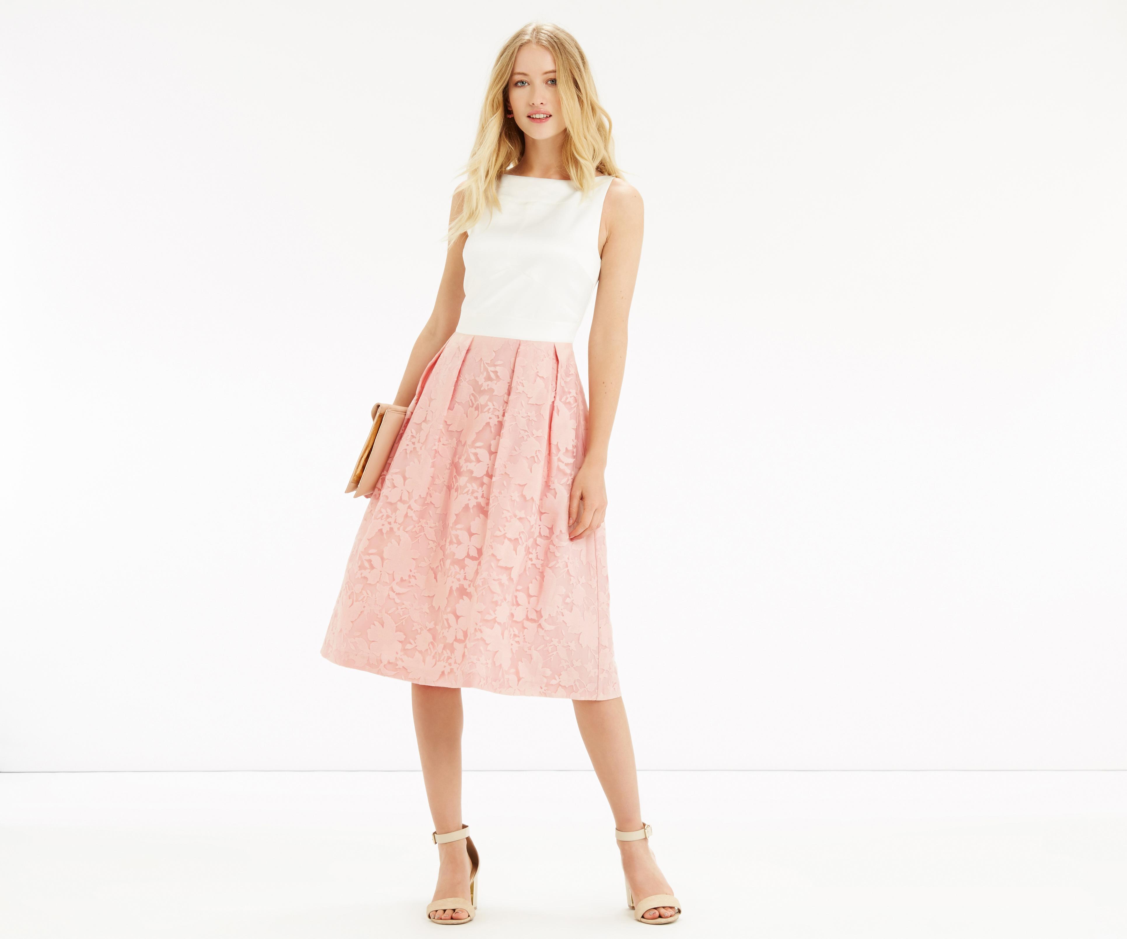 8587da9d68a Oasis Organza Midi Dress - Powder Pink - Lyst