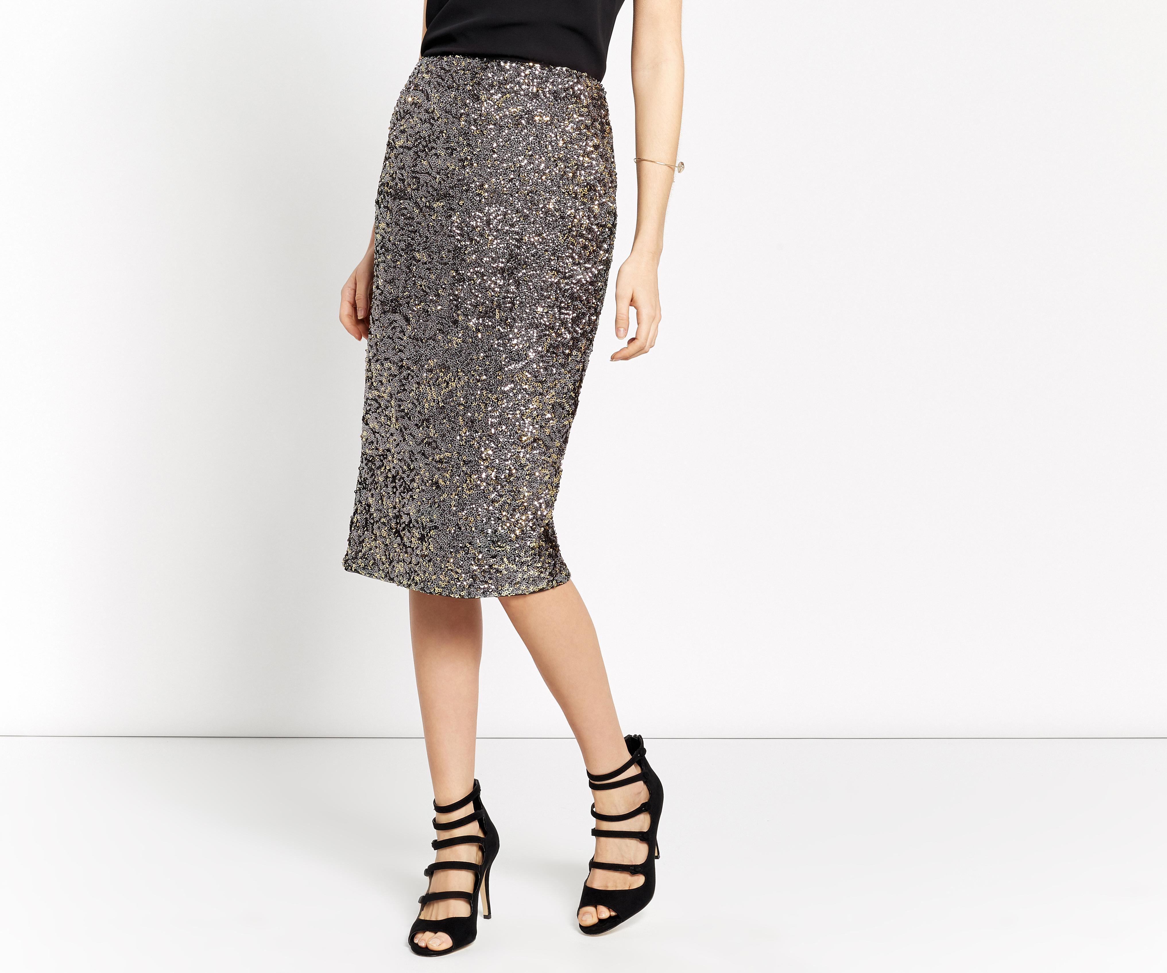 oasis sequin pencil skirt silver in metallic lyst