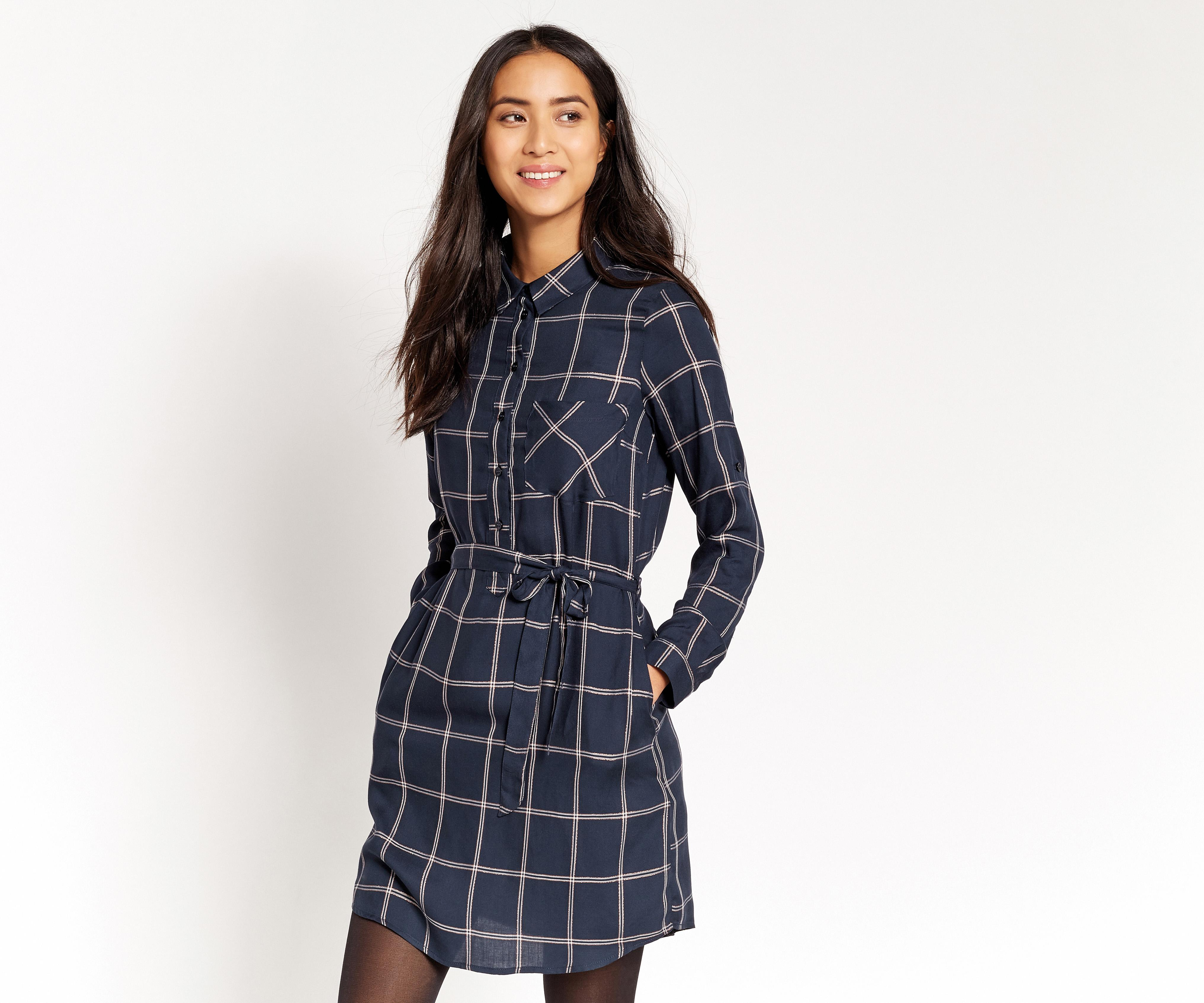 Lyst Oasis Check Shirt Dress In Blue