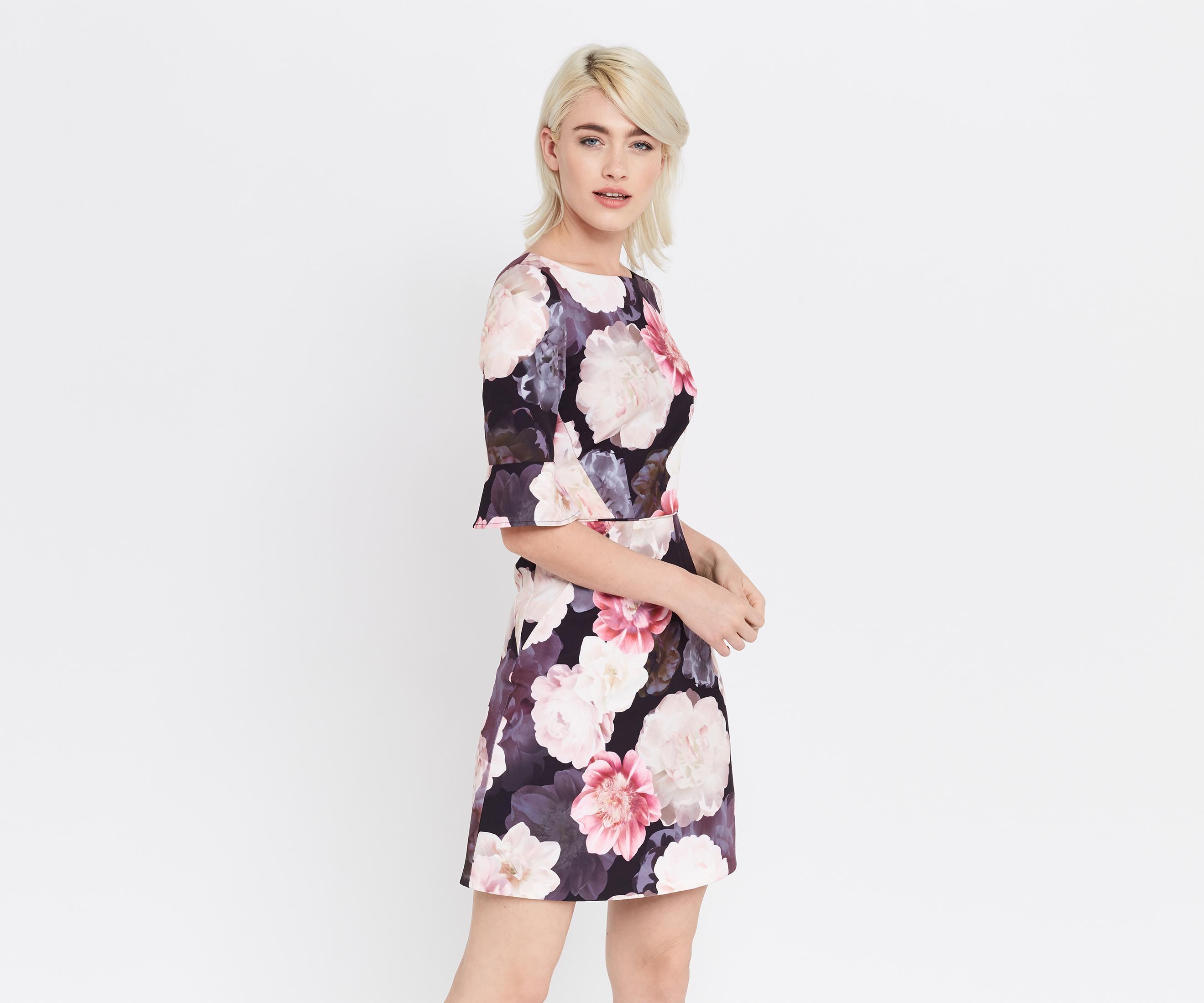 3406fcb275f3 Oasis Springbloom Flute Sleeve Dress in Pink - Lyst