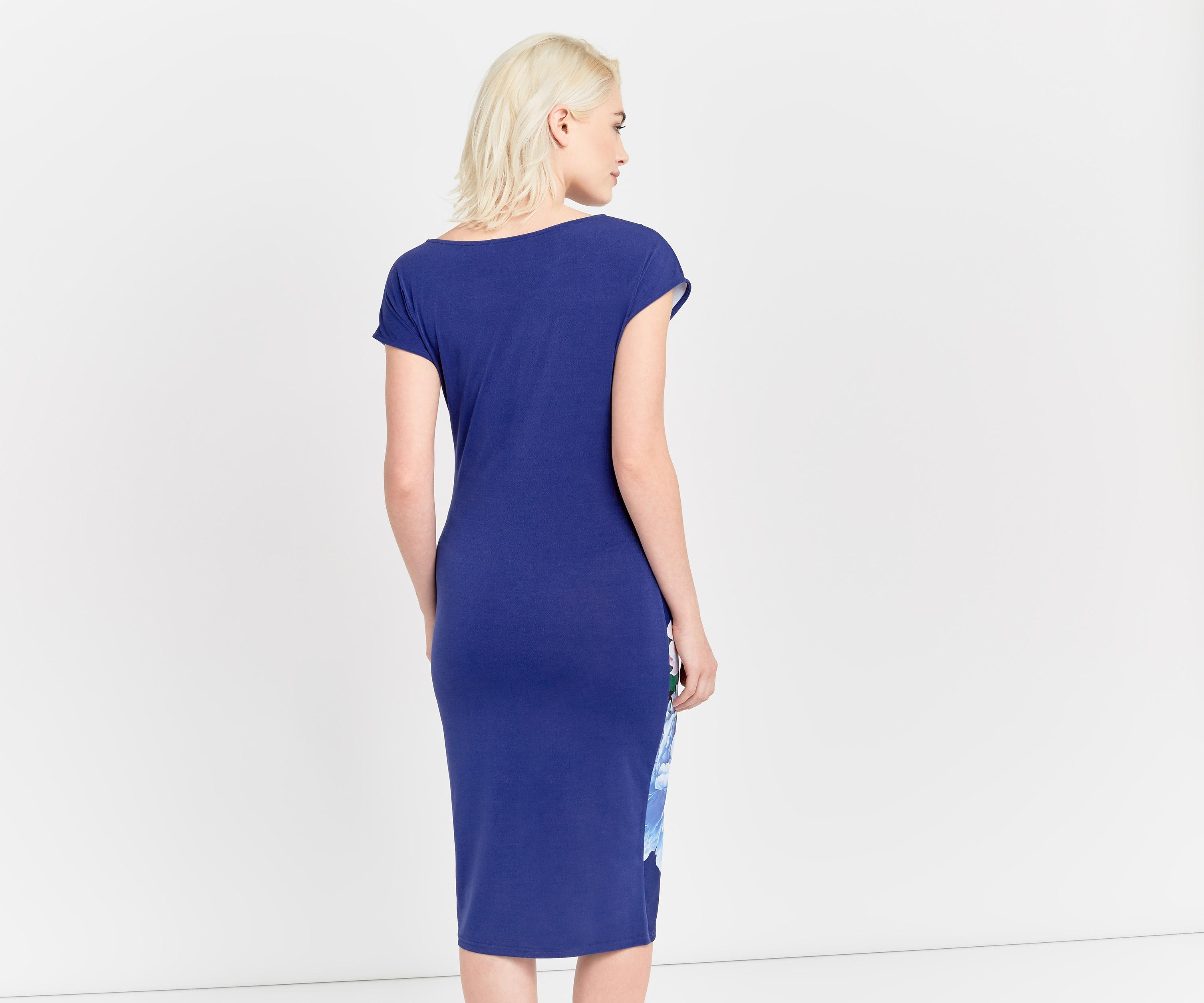 oasis peony draped dress in blue lyst