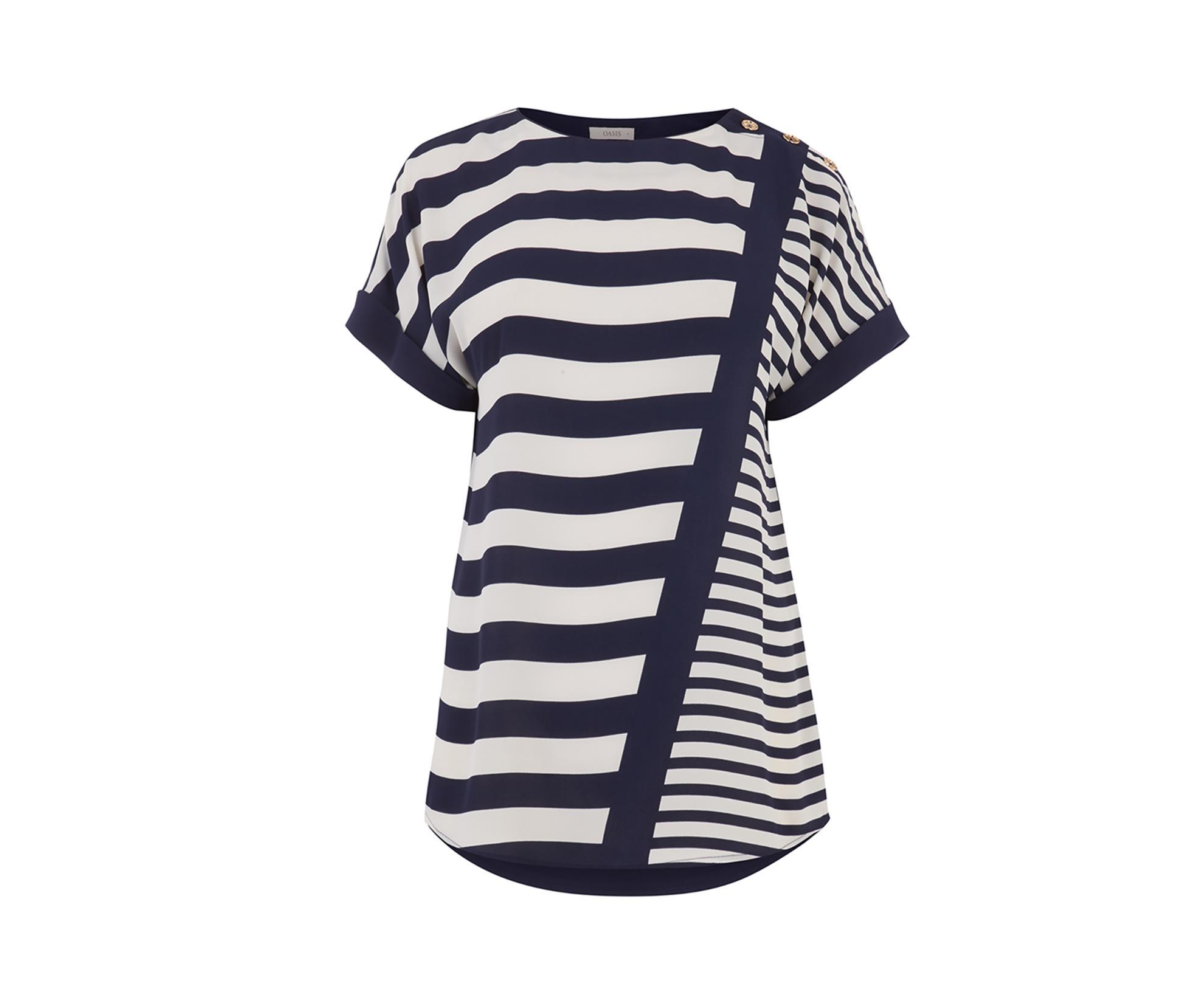 3e7741b7c Lyst - Oasis Stripe Roll Sleeve Tee in Blue