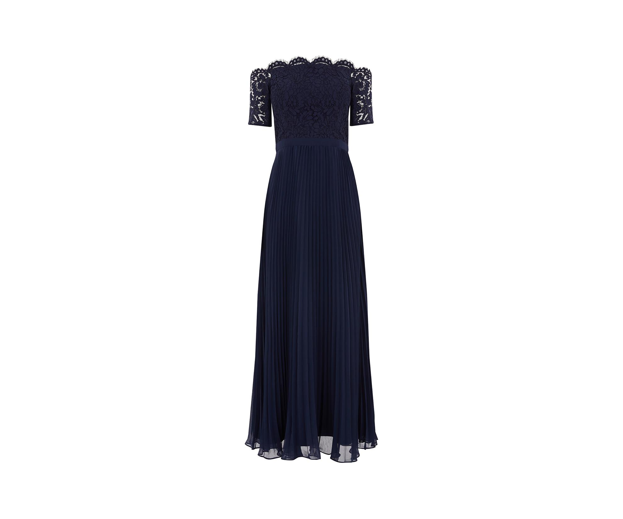 dab4093471f Oasis Lace Bardot Maxi Dress  in Blue - Save 20% - Lyst