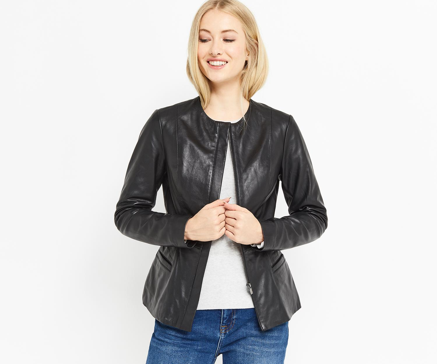 Lyst - Oasis Collarless Leather Jacket In Black-4922
