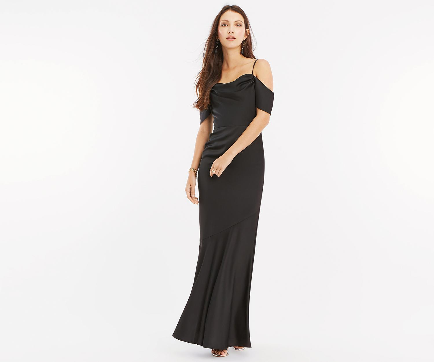 5e1dff2072b Oasis Amy Slinky Cowl Neck Maxi  in Black - Lyst