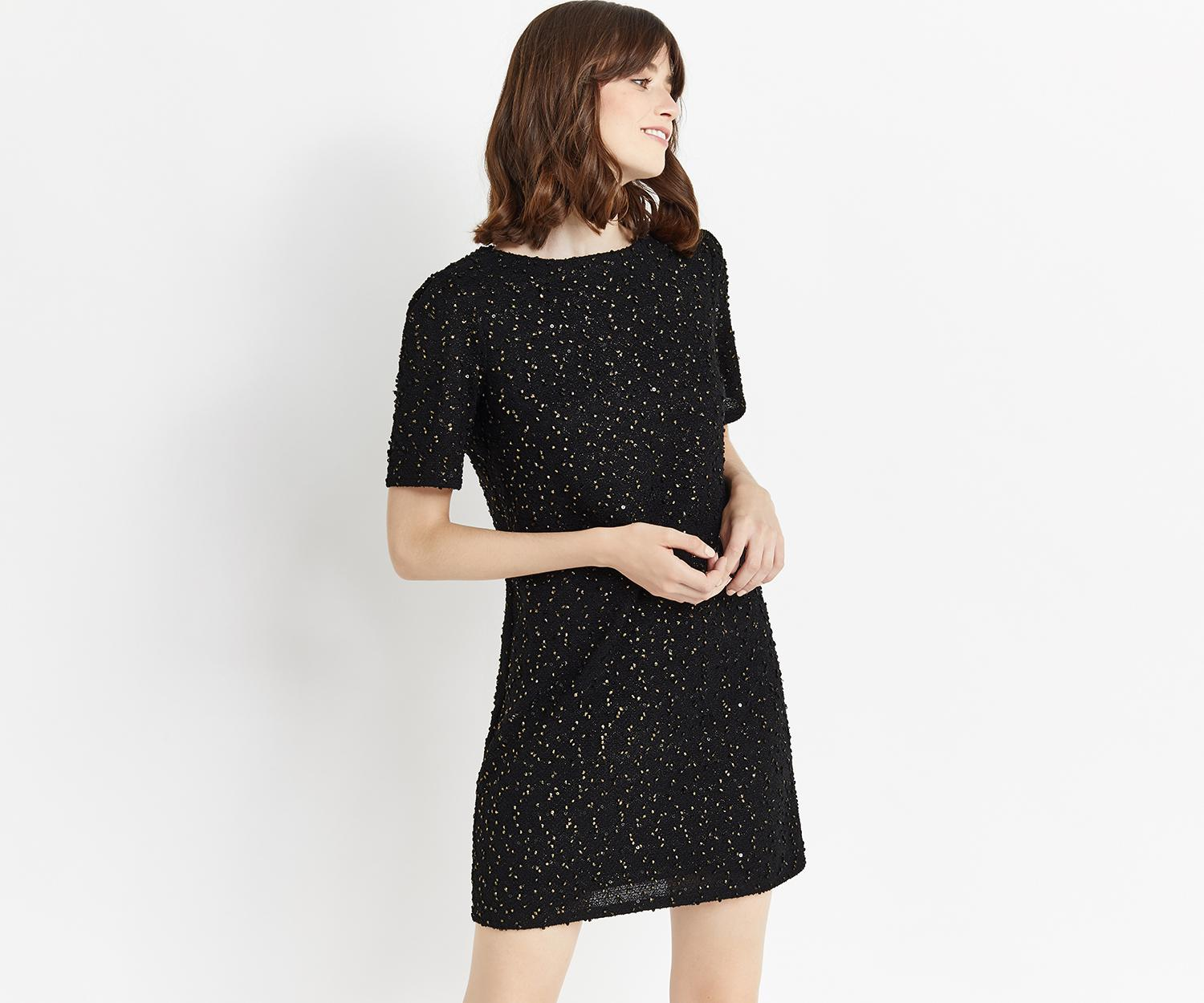 7eea0b35b14d Oasis Spot Foil Popcorn Dress in Black - Lyst