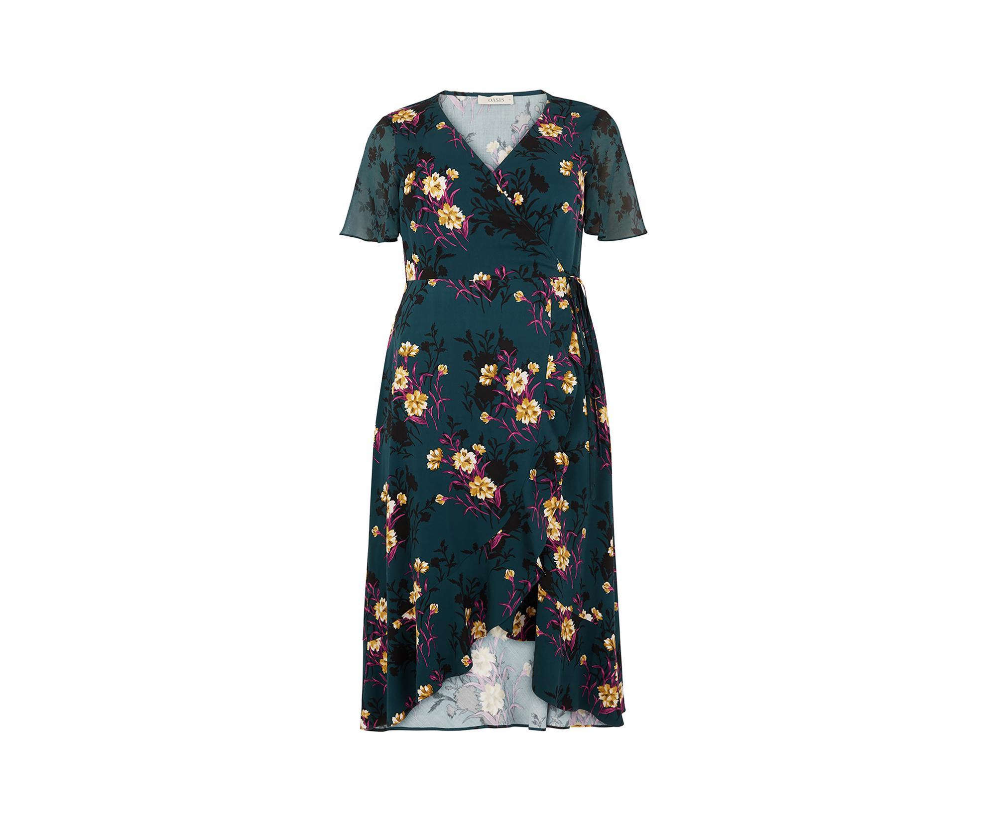 d7a10309aad Oasis - Green Curve Frieda Wrap Dress  - Lyst. View fullscreen
