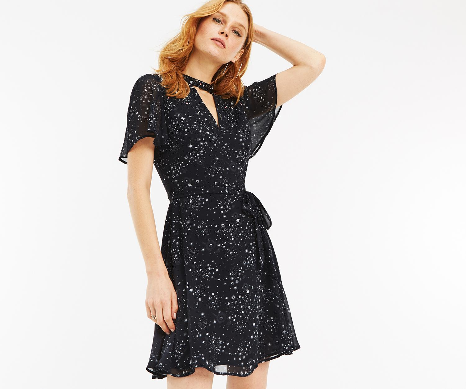 af8e760889ee Lyst - Oasis Star Print Skater Dress in Black