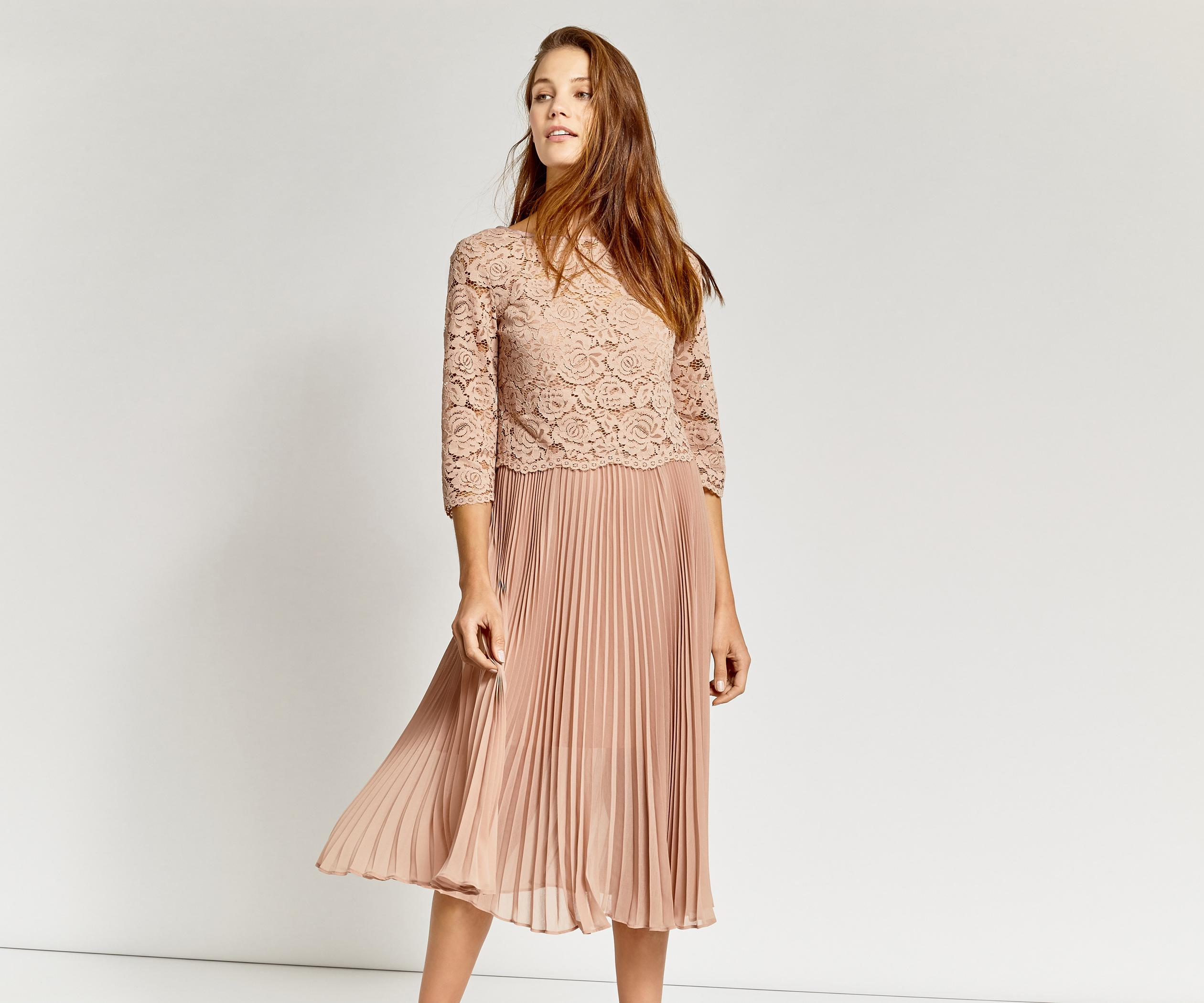 7b764899f8e3 Oasis Lace Top Pleated Midi Dress in Pink - Lyst