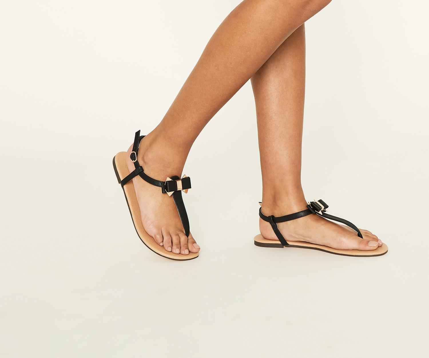 0b21b54cce2964 Lyst - Oasis Black  bambi  Bow Sandals in Black
