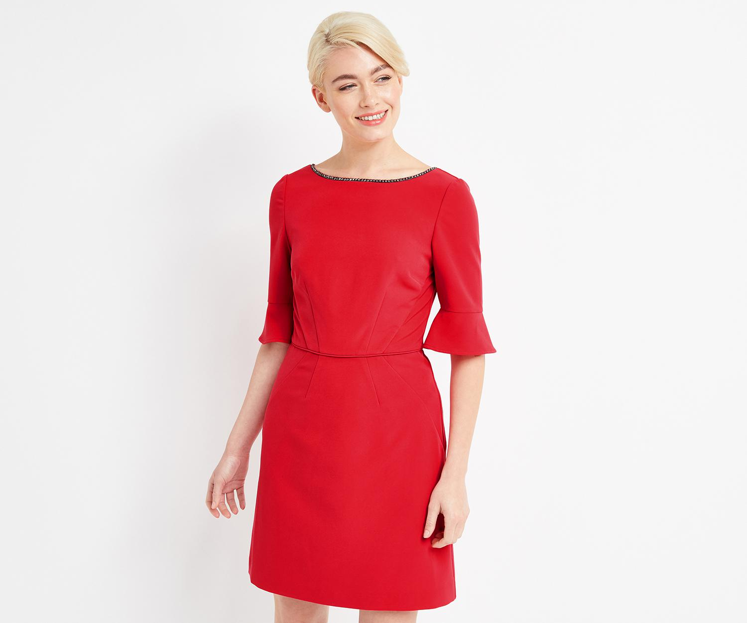 757f46158f9e Oasis Red Embellished Shift Dress - The Best Style Dress In 2018
