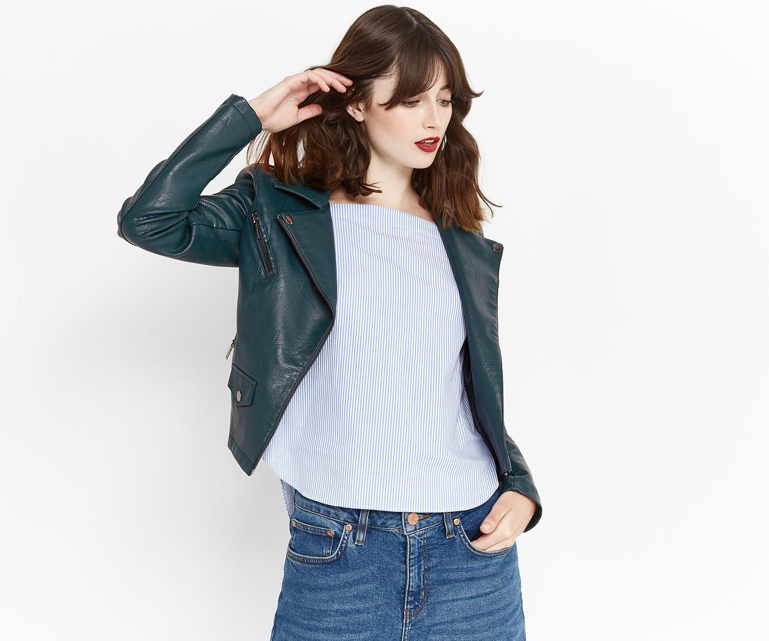 8a5dad0dc104 Oasis Lucy Faux Leather Biker Jacket - Lyst