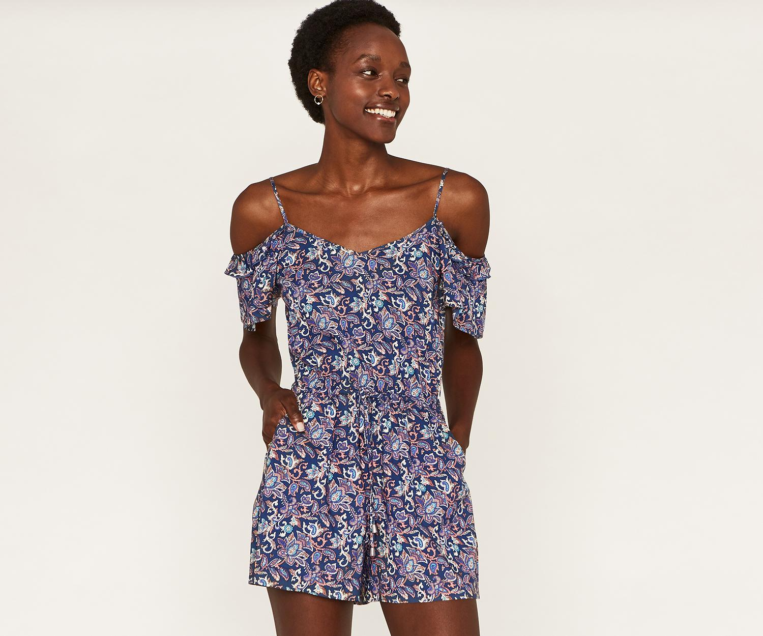 dc6db5216a4c8 Oasis Cold Shoulder Playsuit in Blue - Lyst