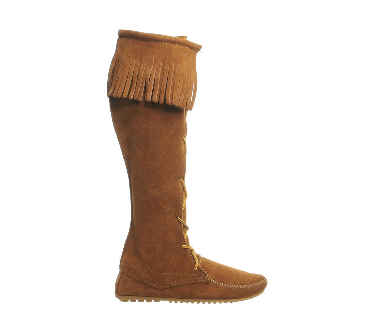 minnetonka front lace knee boots in brown lyst