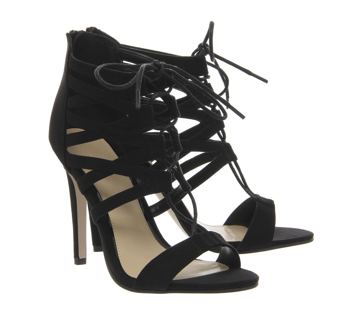 86b39e14af9 Lyst - Office Popsicle Lace Up Strappy Heels in Black