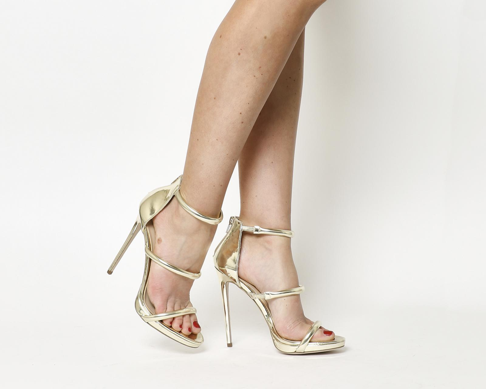 2be970bb59 Office Nectar 3 Strap Platform Heels in Natural - Lyst