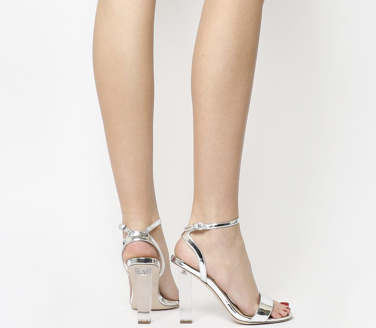 c9b012f1533 Office Hover Perspex Heel Sandals in Metallic - Lyst
