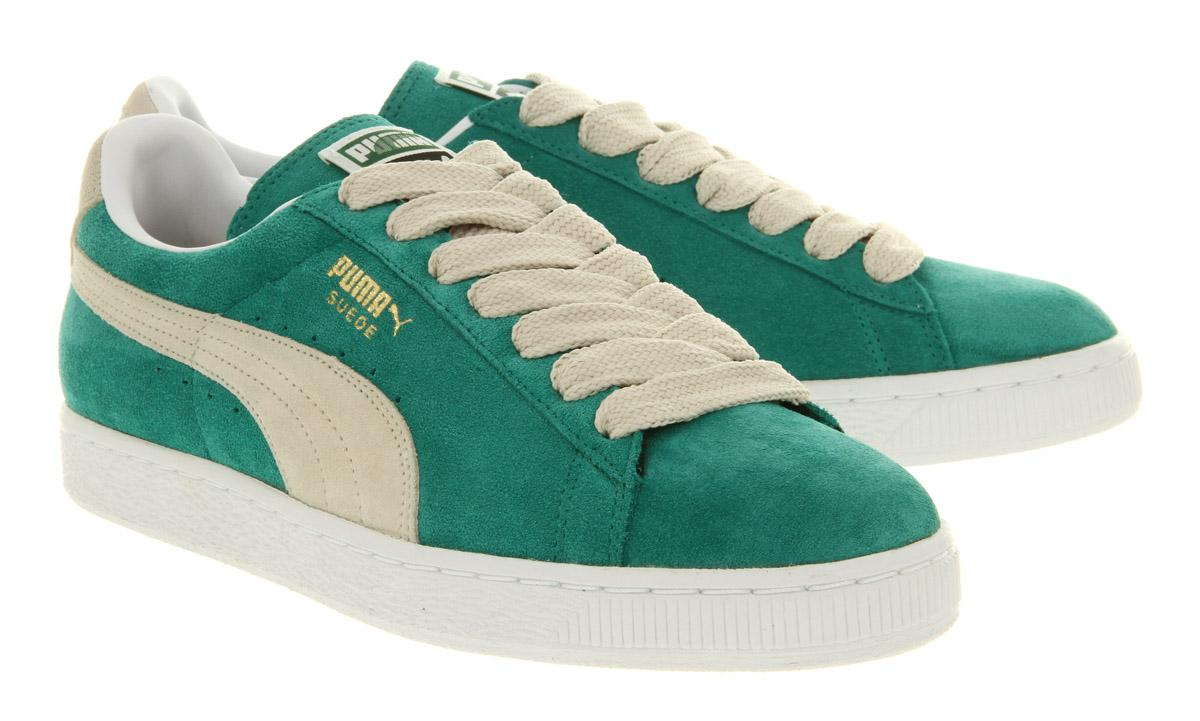 PUMA Suede Classic Green Lake White Swan in Green for Men - Lyst 81c2dd755