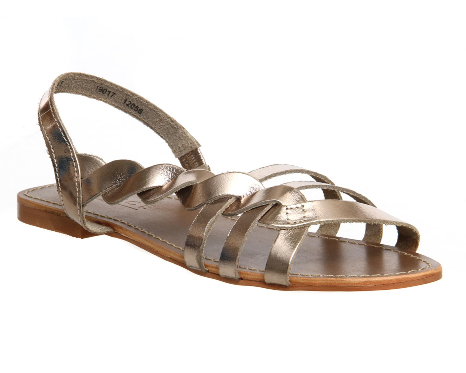 Office Oregon Twist Strappy Sling Womens Sandals Gold Leather
