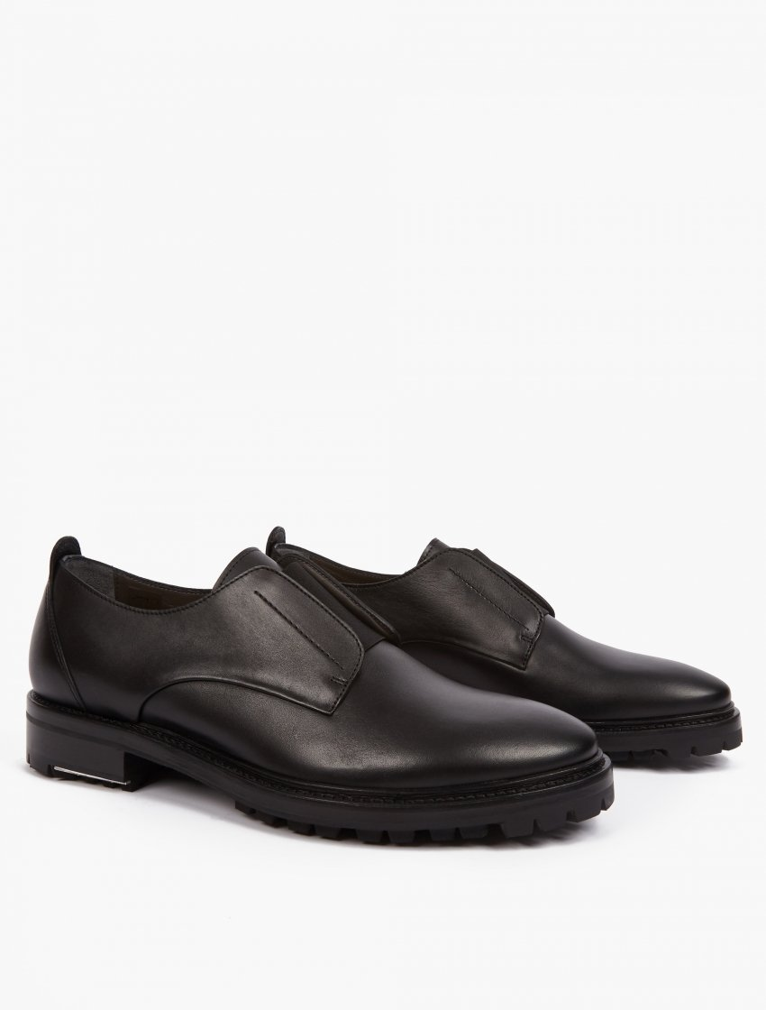 lanvin black leather slip on shoes in black for lyst